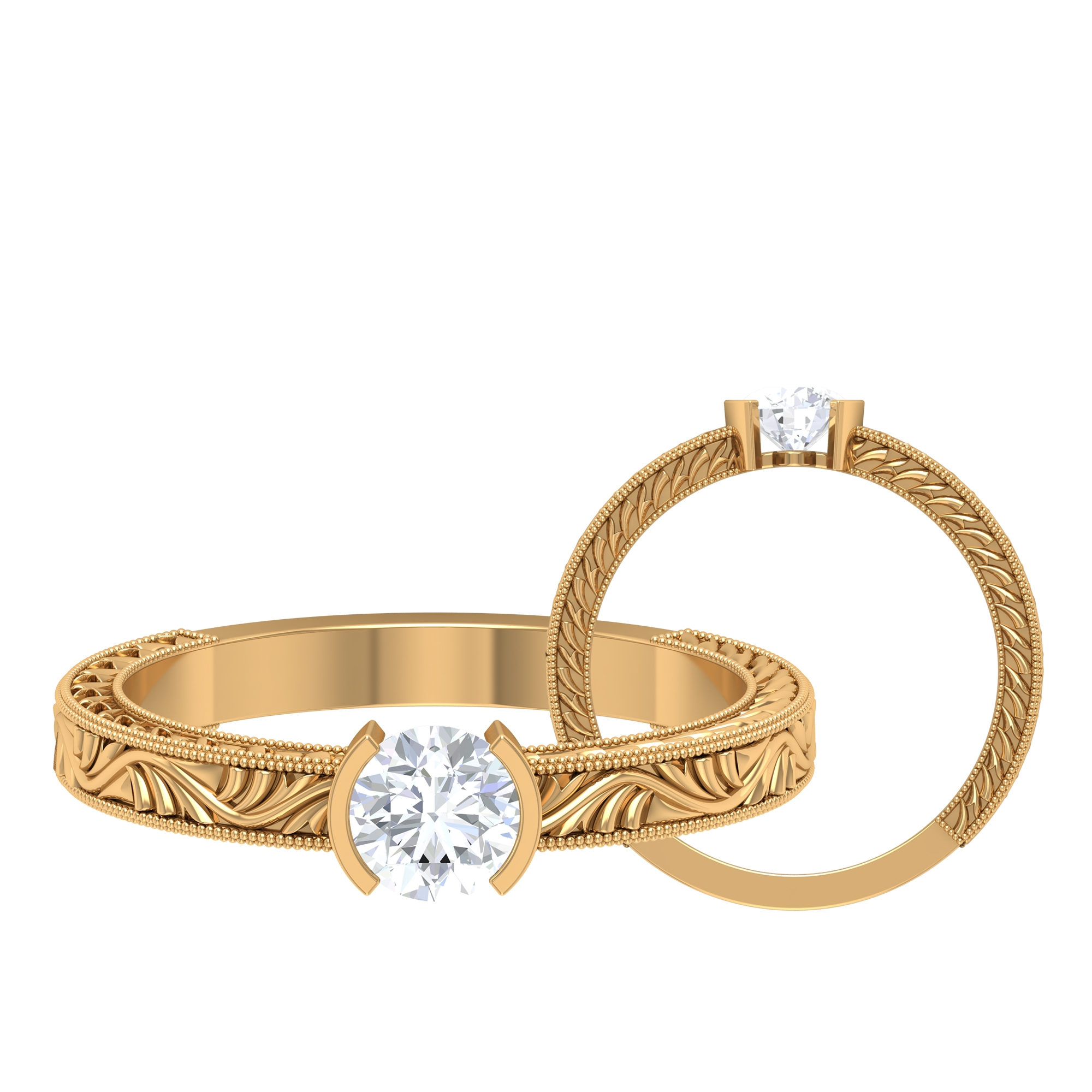 5 MM Round Cut Diamond Solitaire Ring in Half Bezel Setting with Engraved Details