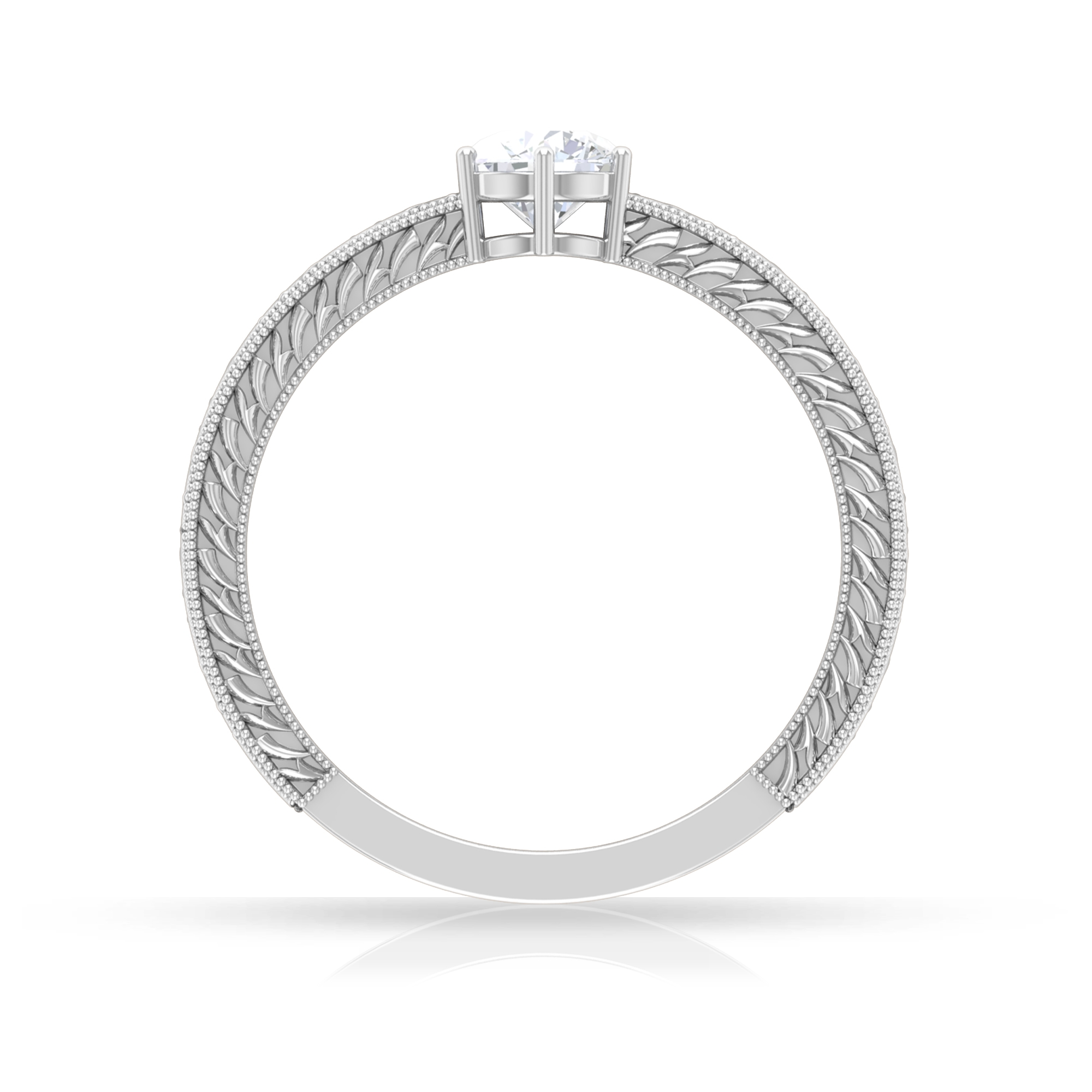 5 MM Round Cut Diamond Solitaire Ring in 6 Prong Setting with Engraved Details