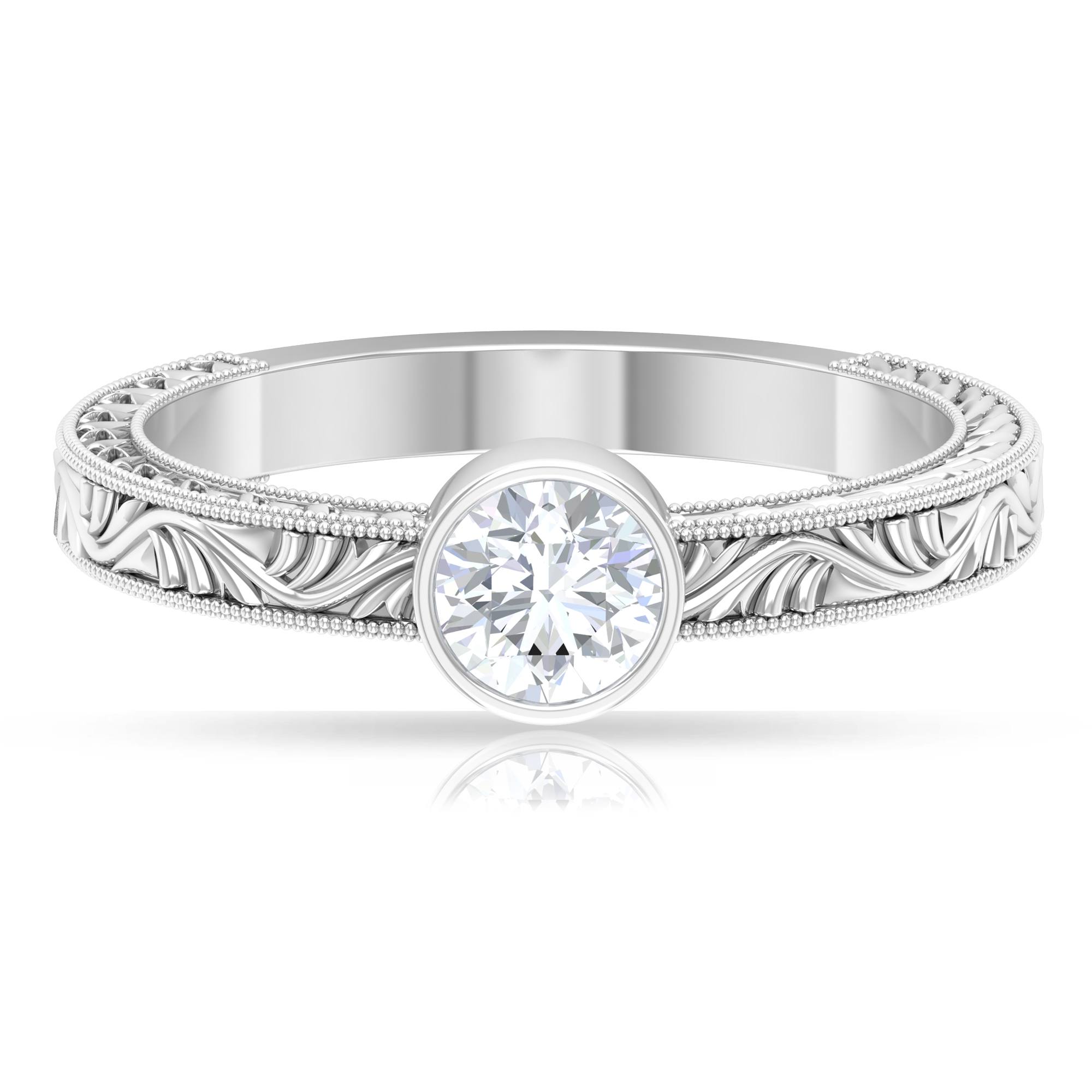5 MM Round Cut Diamond Solitaire Ring in Bezel Setting with Engraved Details