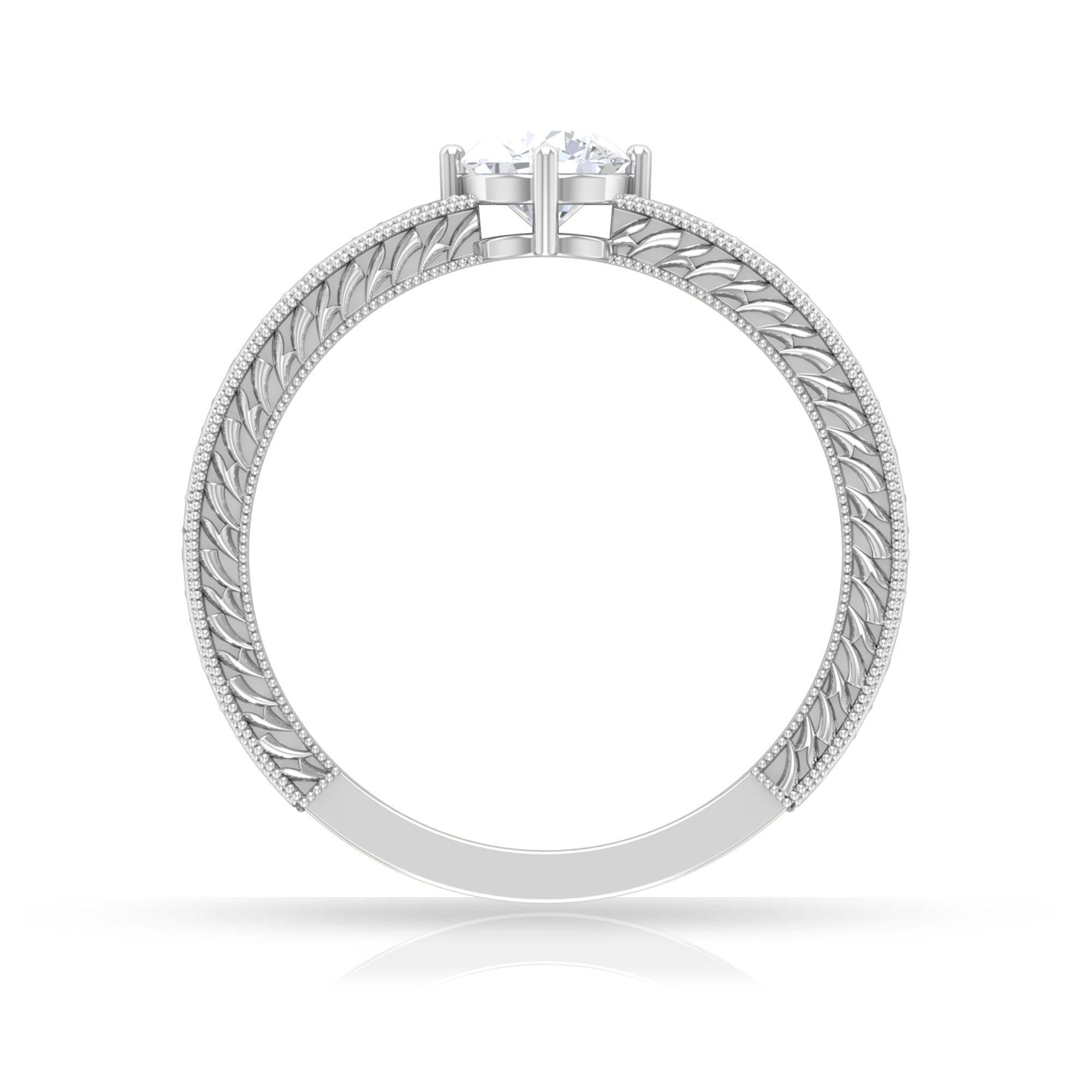 5 MM Round Cut Diamond Solitaire Ring in 4 Prong Diagonal Setting with Engraved Details