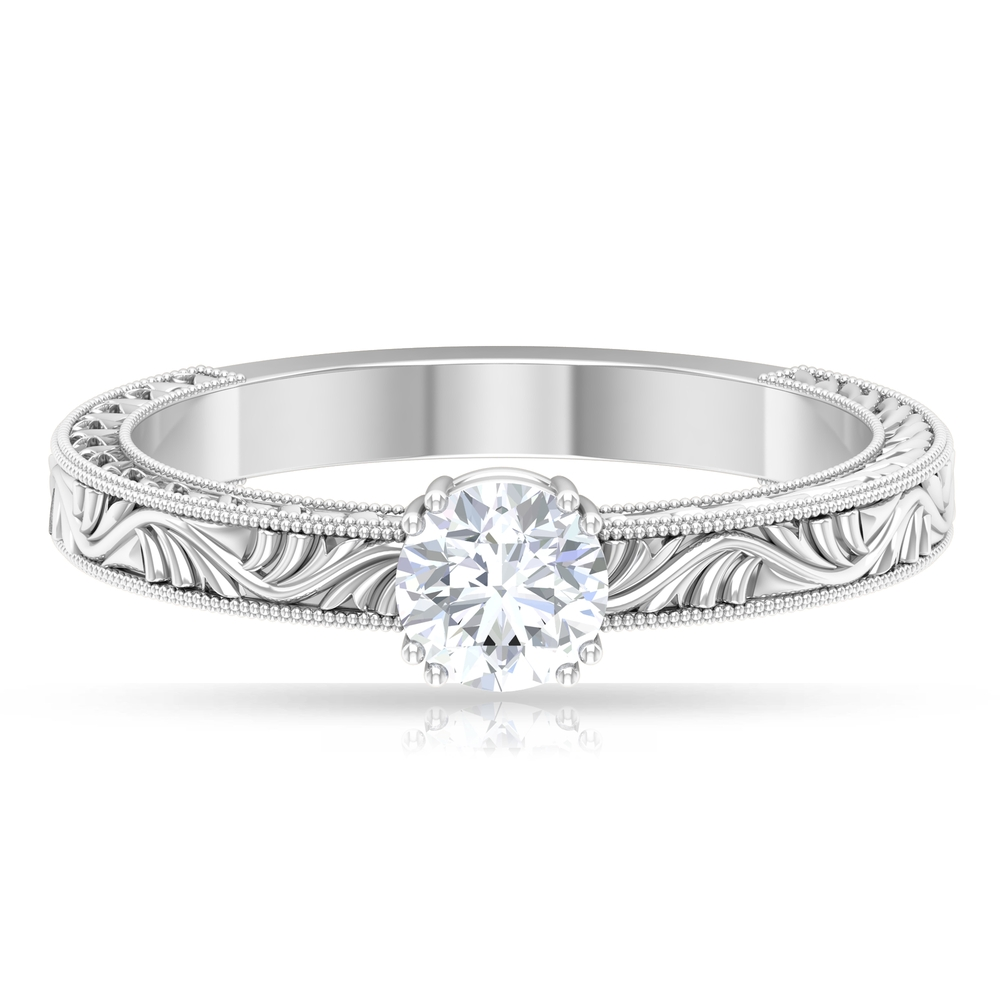 5 MM Round Cut Diamond Solitaire Ring in Double Prong Setting with Engraved Details