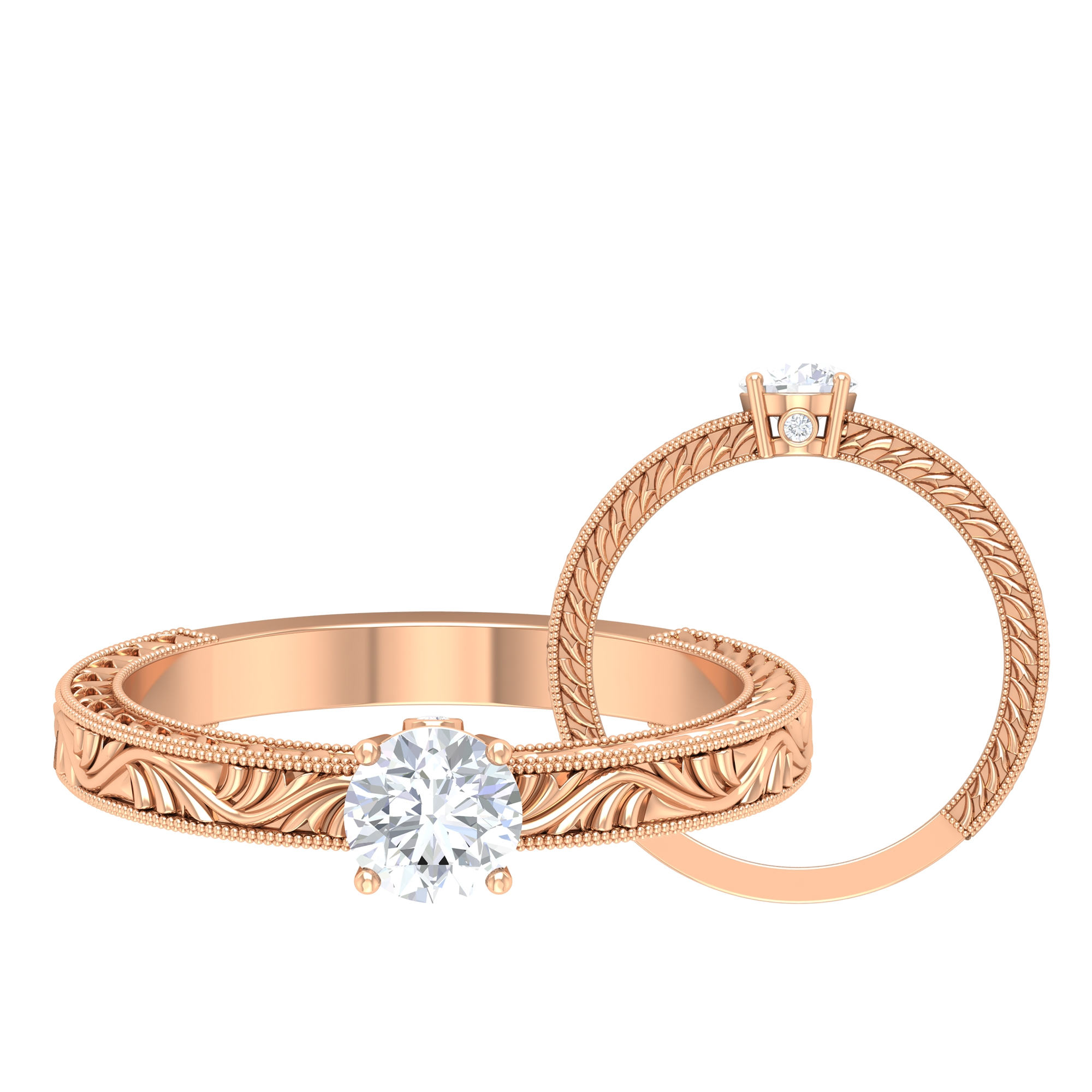 1/2 CT Round Cut Diamond Solitaire Ring in Prong Setting and Surprise Style with Engraved Details