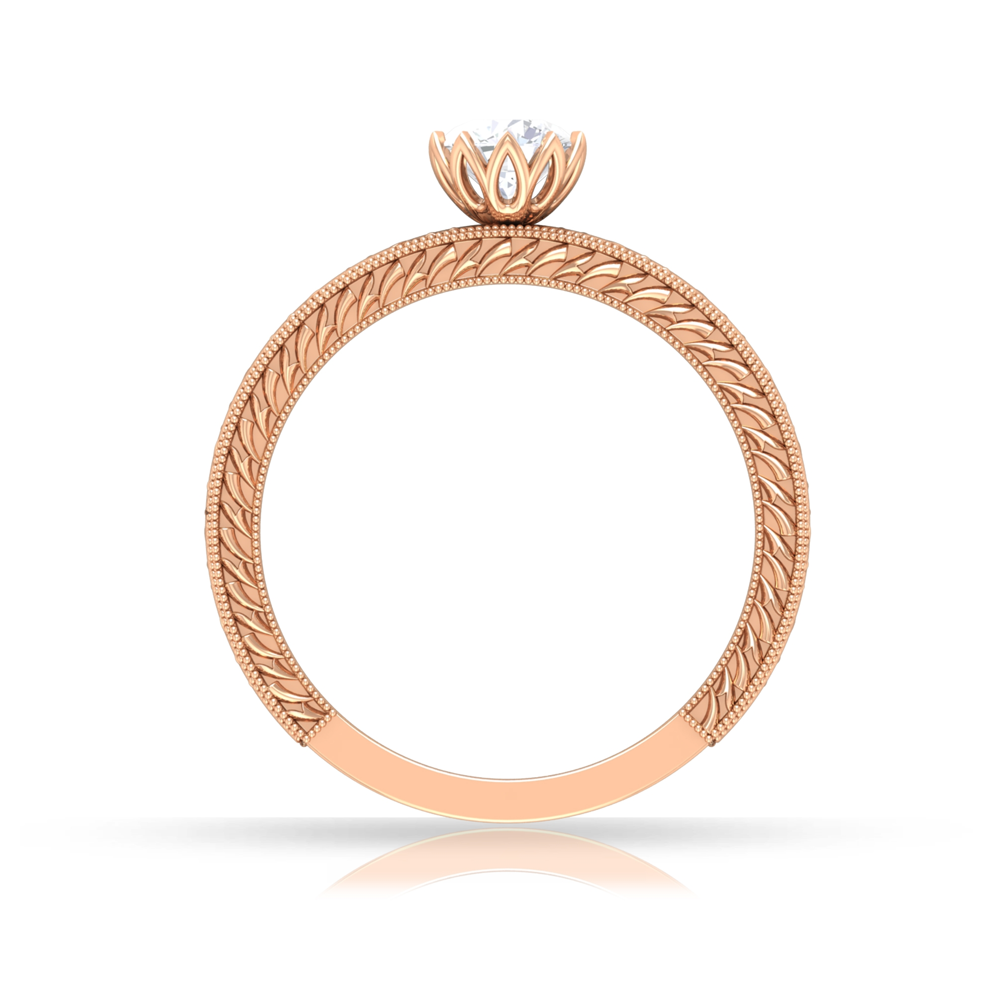 5 MM Round Cut Diamond Solitaire Ring in Lotus Basket Setting with Engraved Details