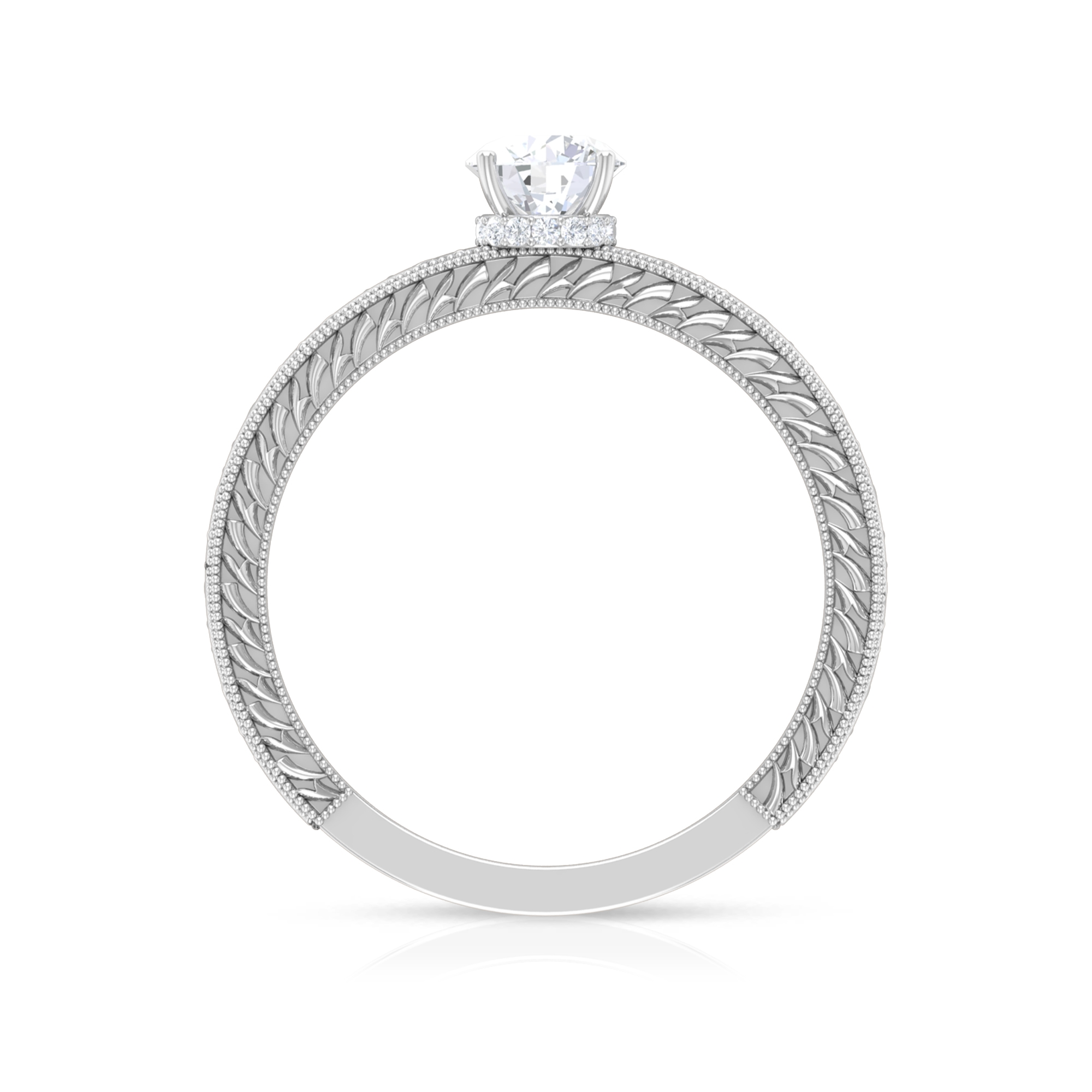 1/2 CT Round Cut Diamond Solitaire Ring with Hidden Halo and Engraved Details