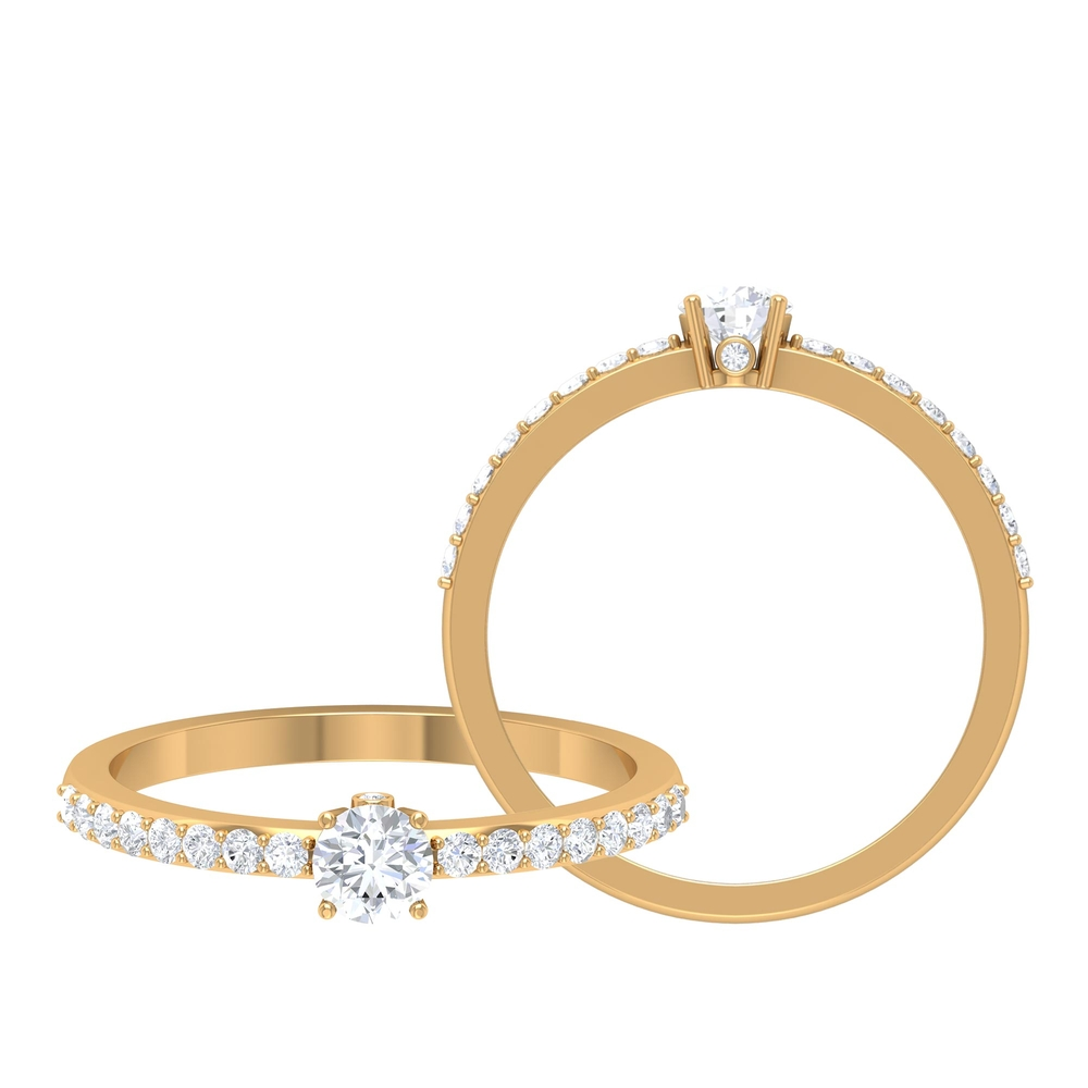1/2 CT Round Cut Diamond Solitaire Ring in Prong Setting and Surprise Style with Surface Side Stones