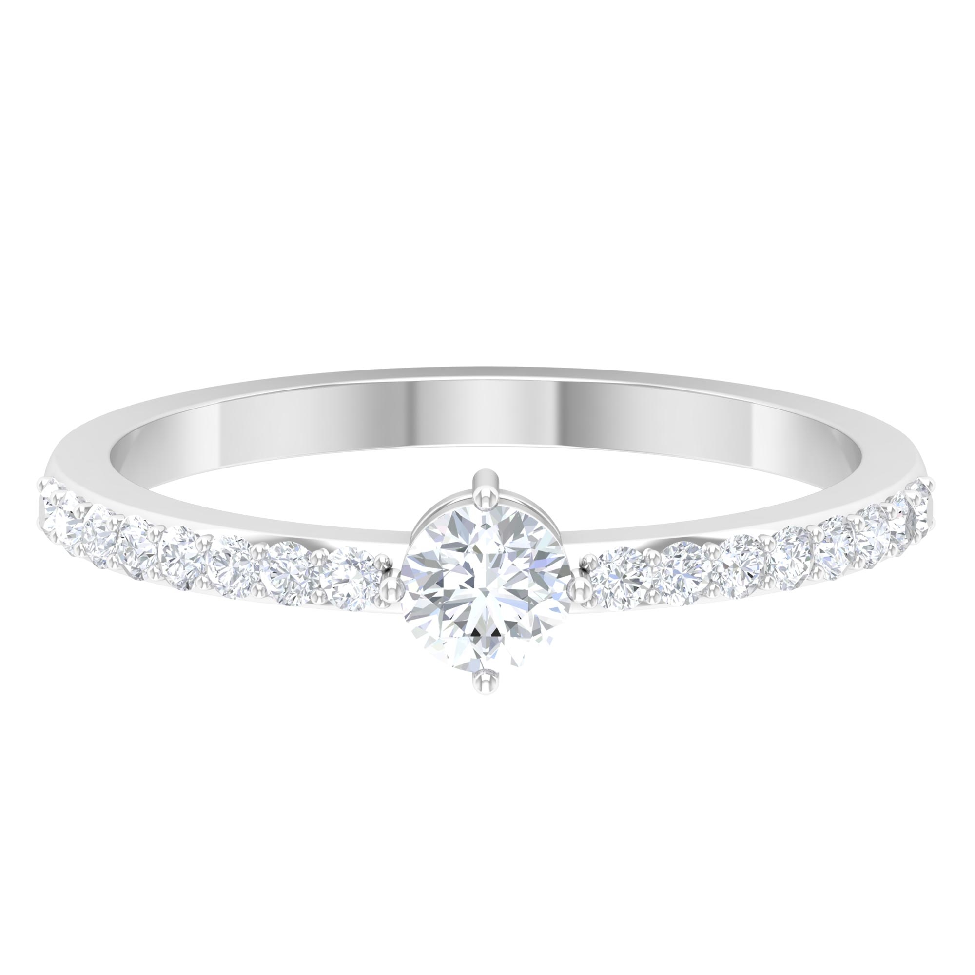 1/2 CT Round Cut Diamond Solitaire Ring in 4 Prong Diagonal Setting and Surprise Style with Surface Side Stones
