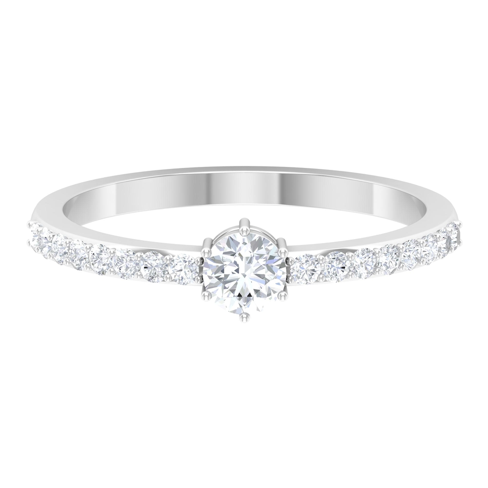 1/2 CT Round Cut Diamond Solitaire Ring in 6 Prong Setting with Surface Side Stones