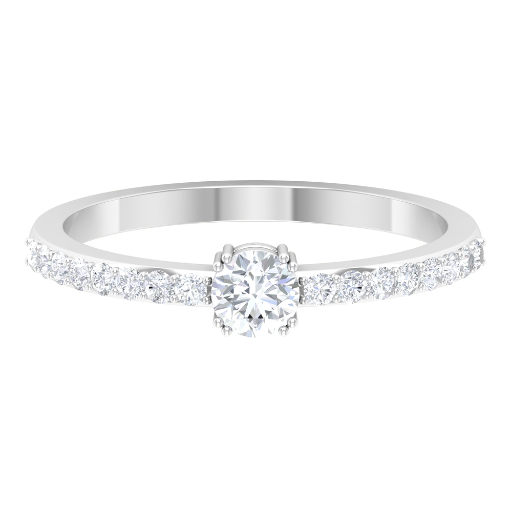 1/2 CT Round Cut Diamond Solitaire Ring in Double Prong Setting with Surface Side Stones