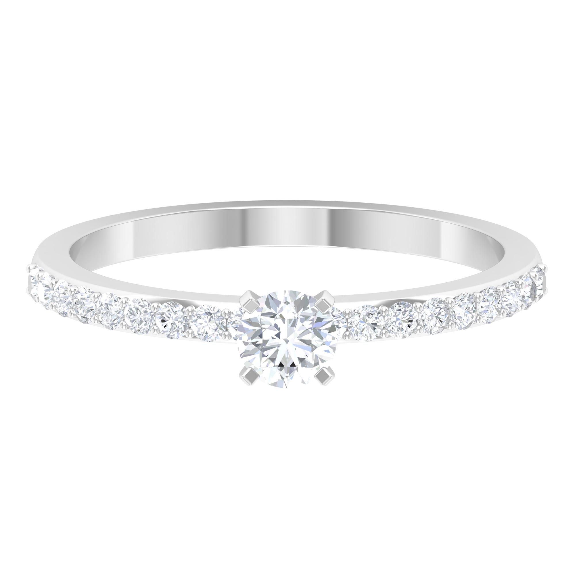1/2 CT Round Cut Diamond Solitaire Ring in Square Prong Setting with Surface Side Stones