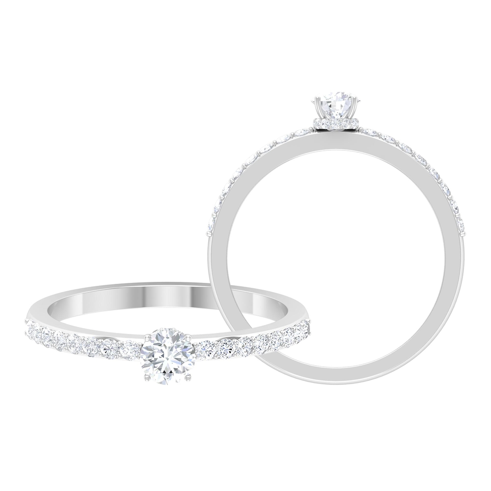 1/2 CT Round Cut Diamond Solitaire Ring with Surface Side Stones and Hidden Halo