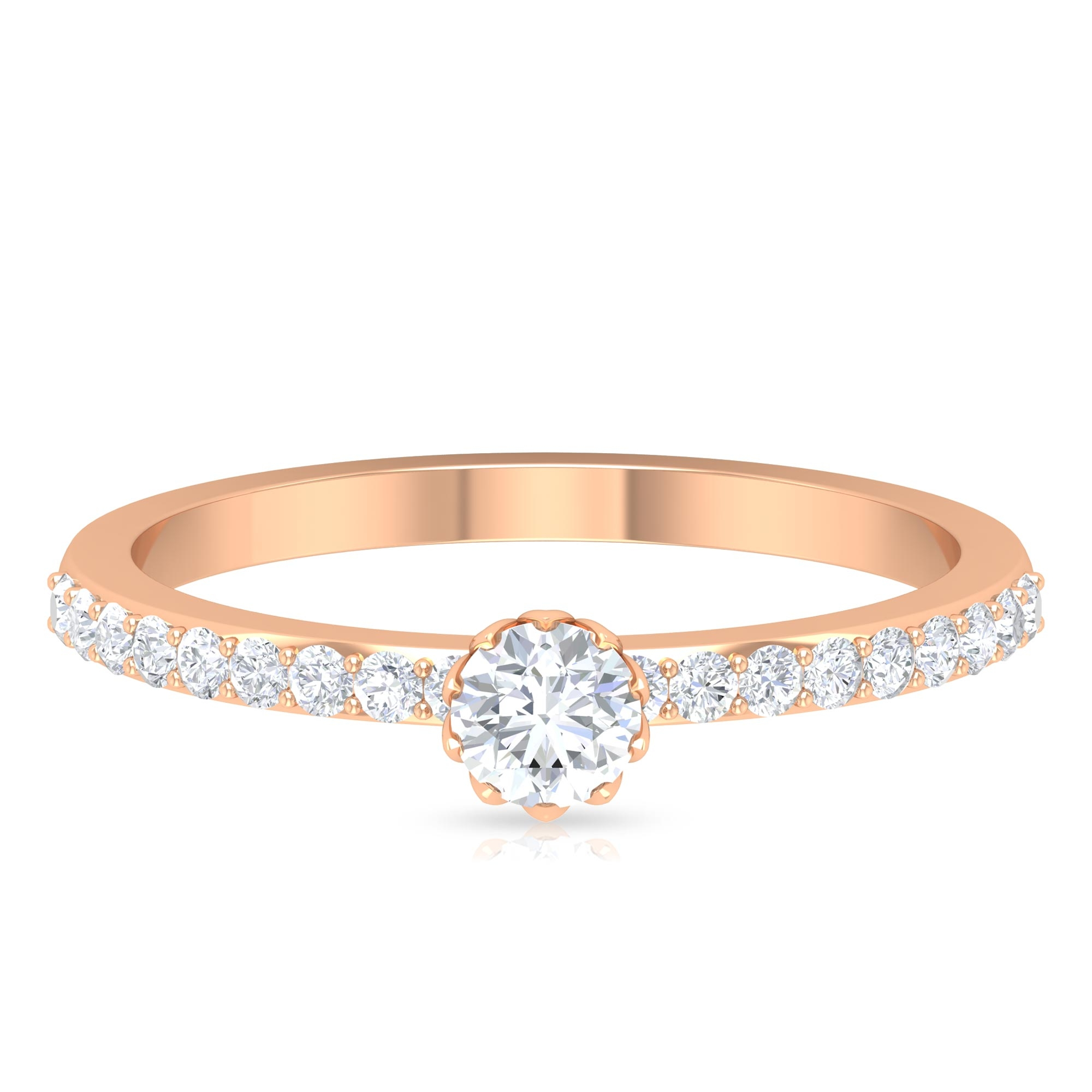 1/2 CT Round Cut Diamond Solitaire Ring in Lotus Basket Setting with Surface Side Stones