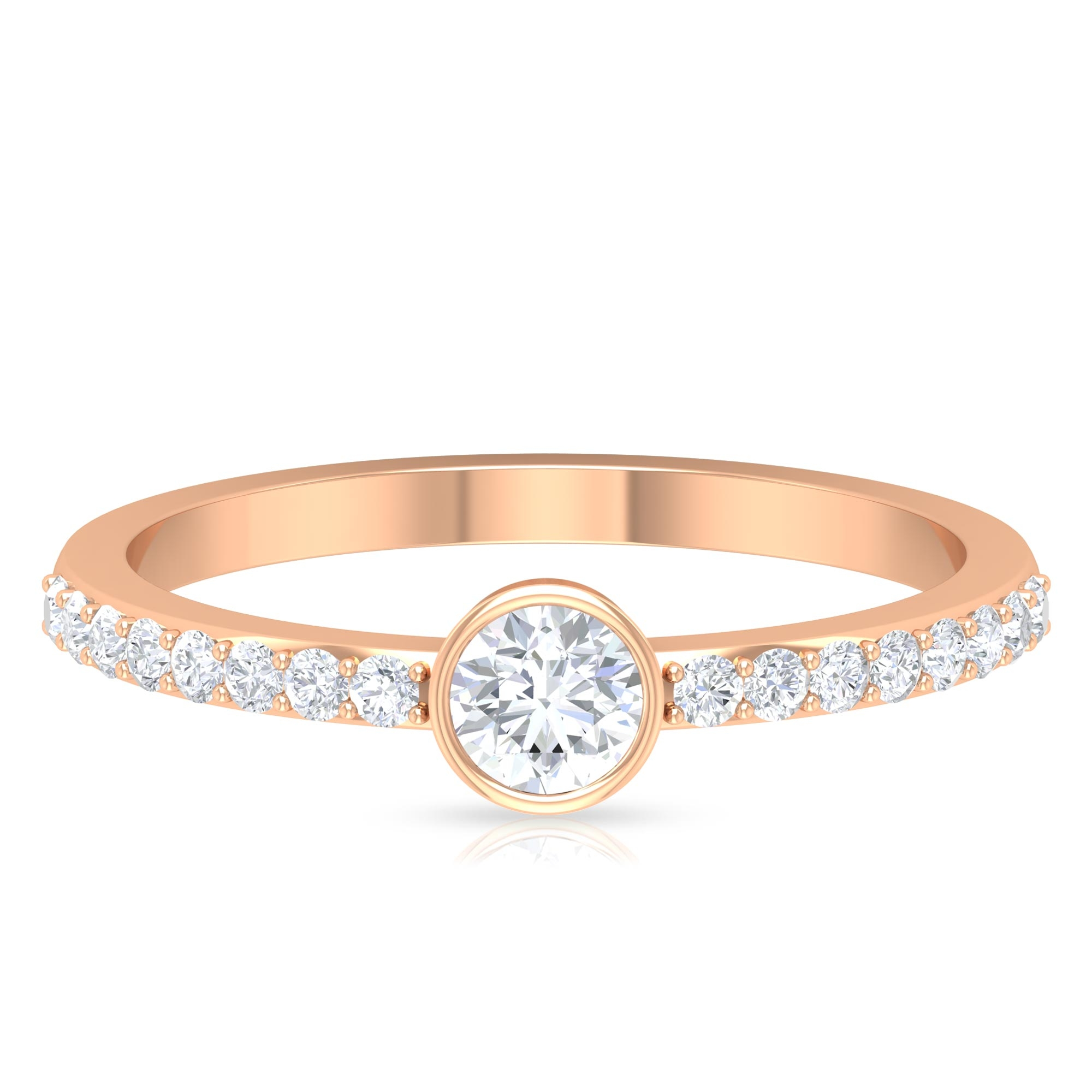 1/2 CT Round Cut Diamond Solitaire Ring in Bezel Setting with Surface Side Stones