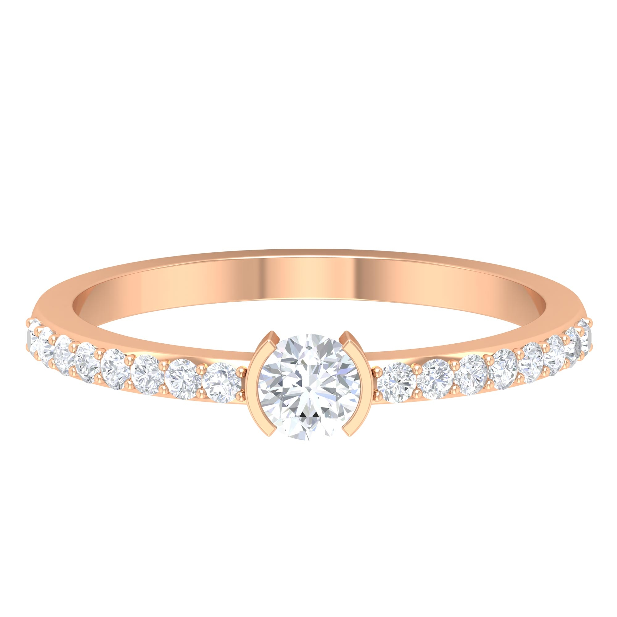 1/2 CT Round Cut Diamond Solitaire Ring in Half Bezel Setting with Surface Side Stones