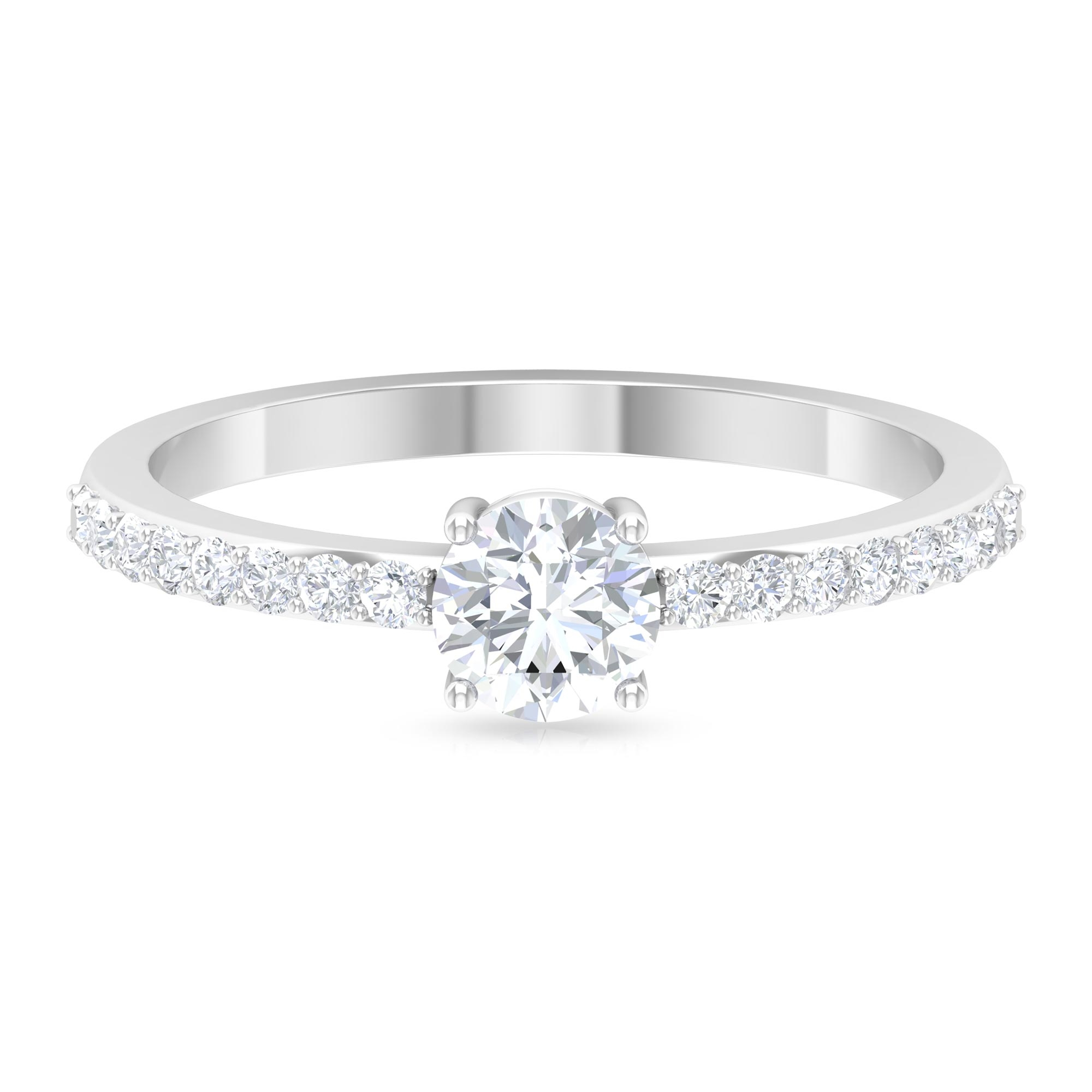 3/4 CT Round Cut Diamond Solitaire Ring in 4 Prong Setting with Surface Side Stones
