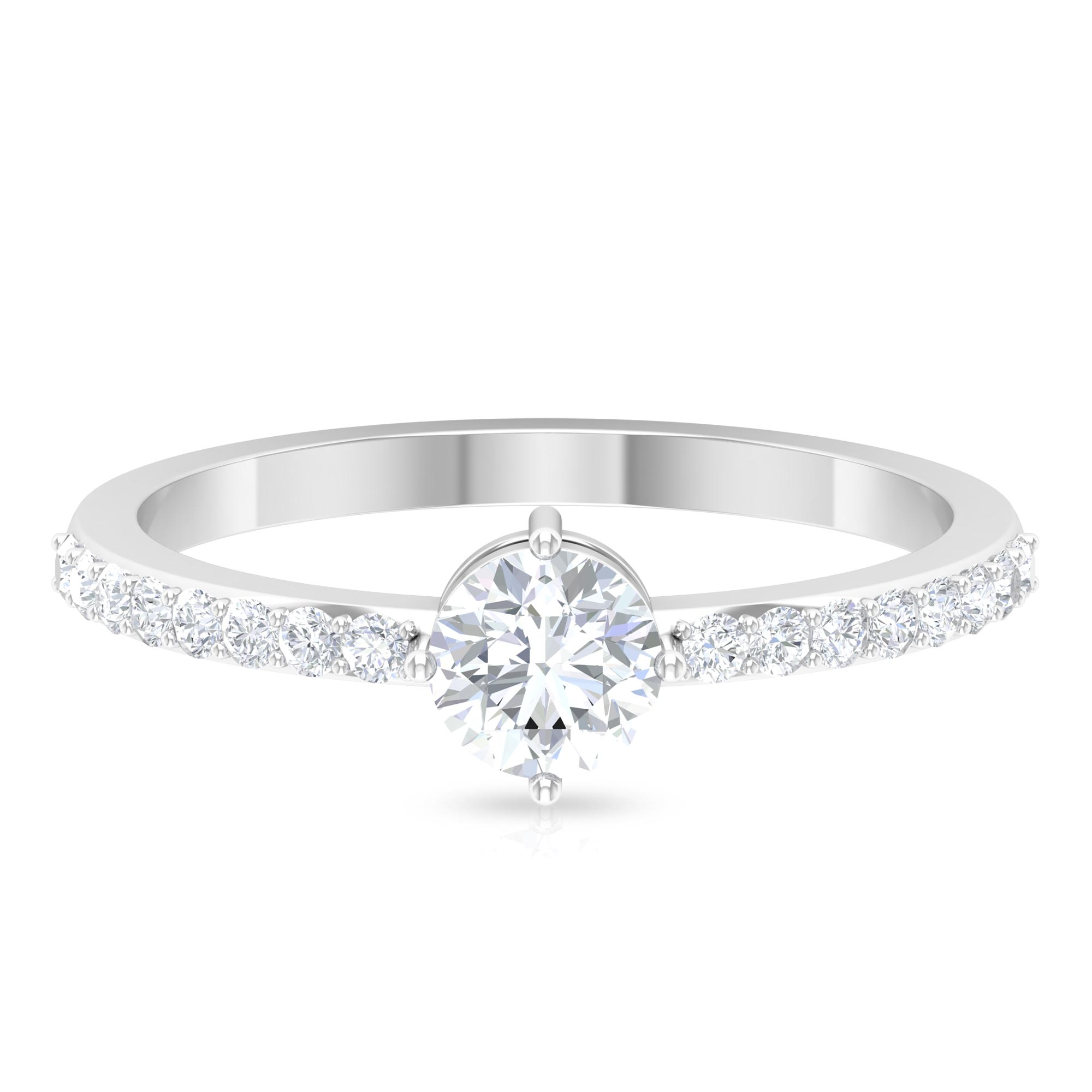 3/4 CT Round Cut Diamond Solitaire Ring in 4 Prong Diagonal Setting with Surface Side Stones