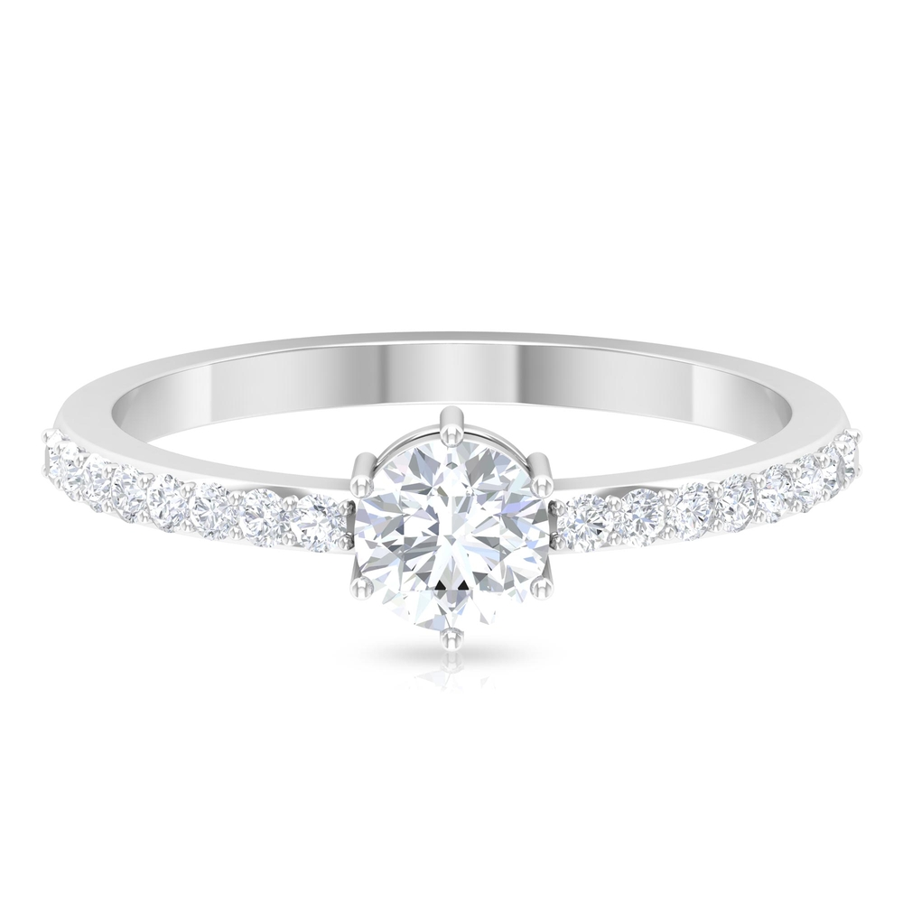 3/4 CT Round Cut Diamond Solitaire Ring in 6 Prong Setting with Surface Side Stones