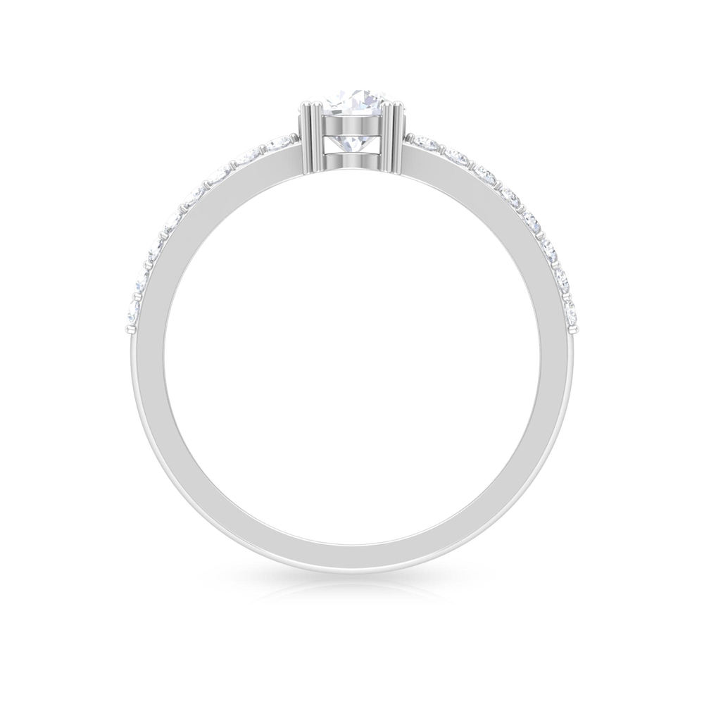 3/4 CT Round Cut Diamond Solitaire Ring in Double Prong Setting with Surface Side Stones