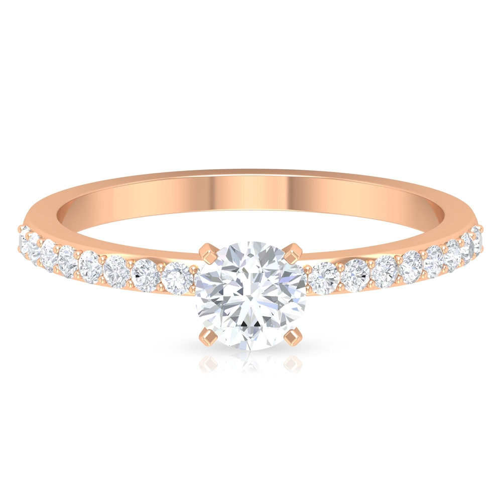 3/4 CT Round Cut Diamond Solitaire Ring in Square Prong Setting with Surface Side Stones
