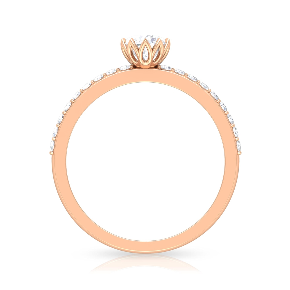 3/4 CT Round Cut Diamond Solitaire Ring in Lotus Basket Setting with Surface Side Stones