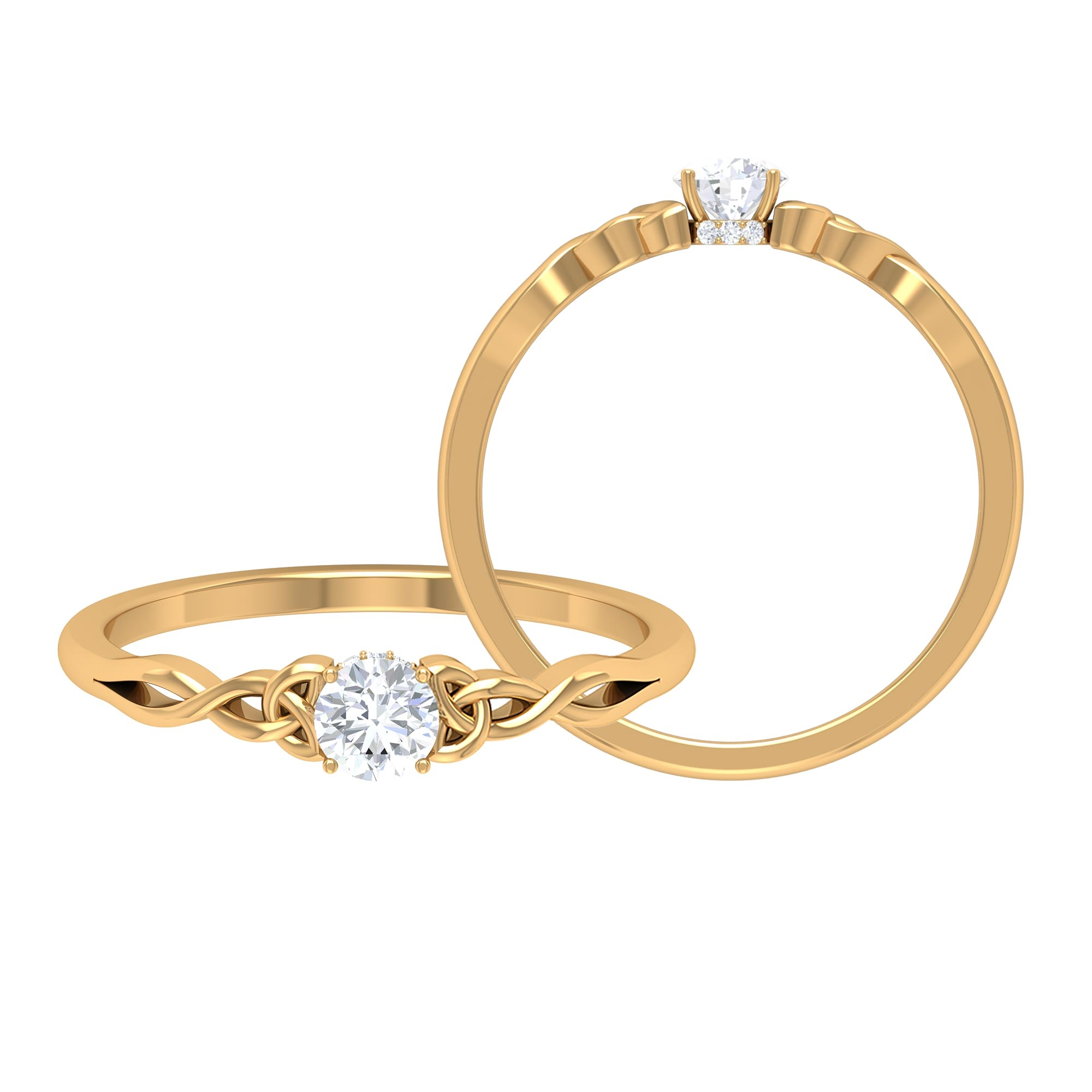 1/4 CT Round Cut Diamond Solitaire Ring in Prong Setting with Hidden Halo and Celtic Details