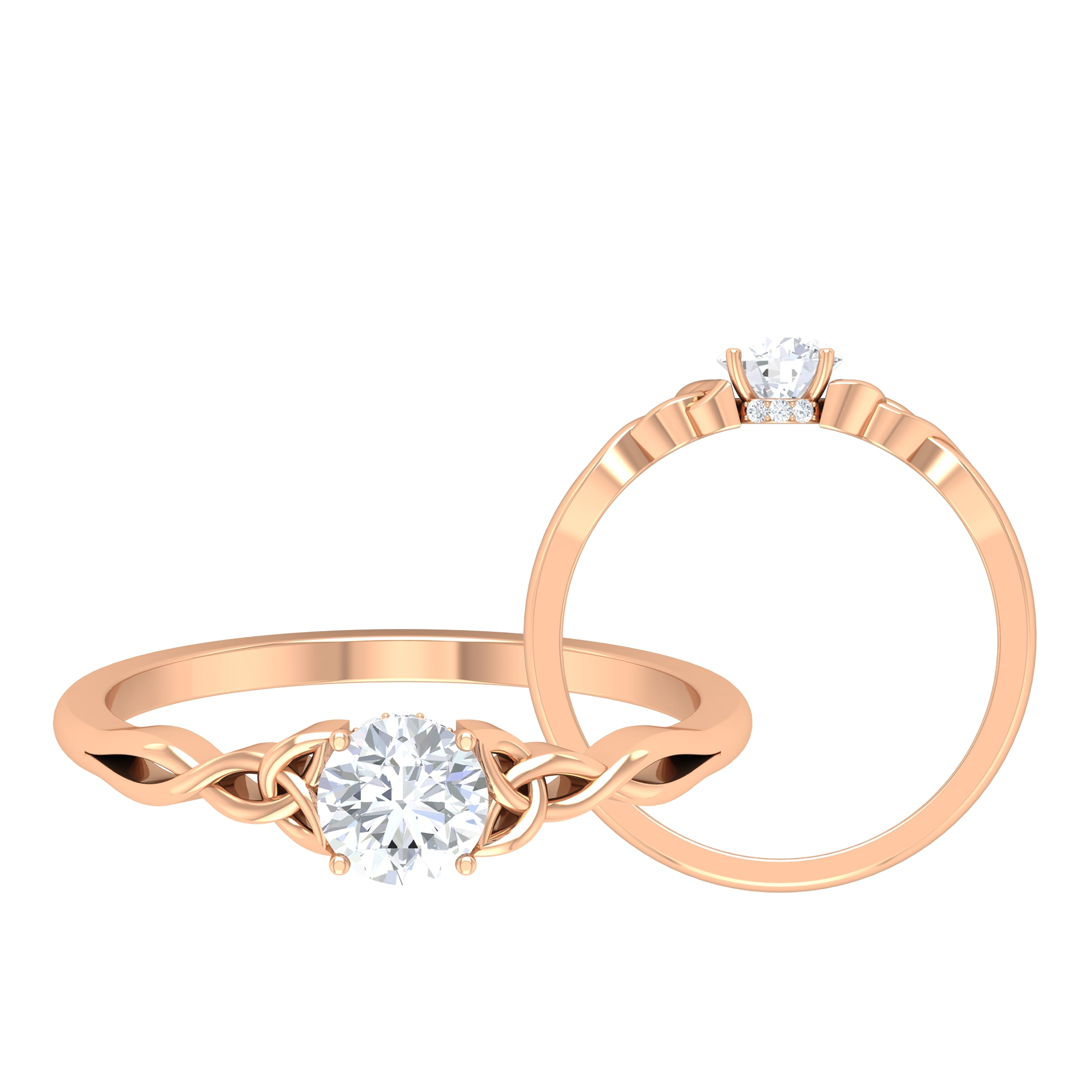 1/2 CT Round Cut Diamond Solitaire Ring in Prong Setting with  Hidden Halo and Celtic Details