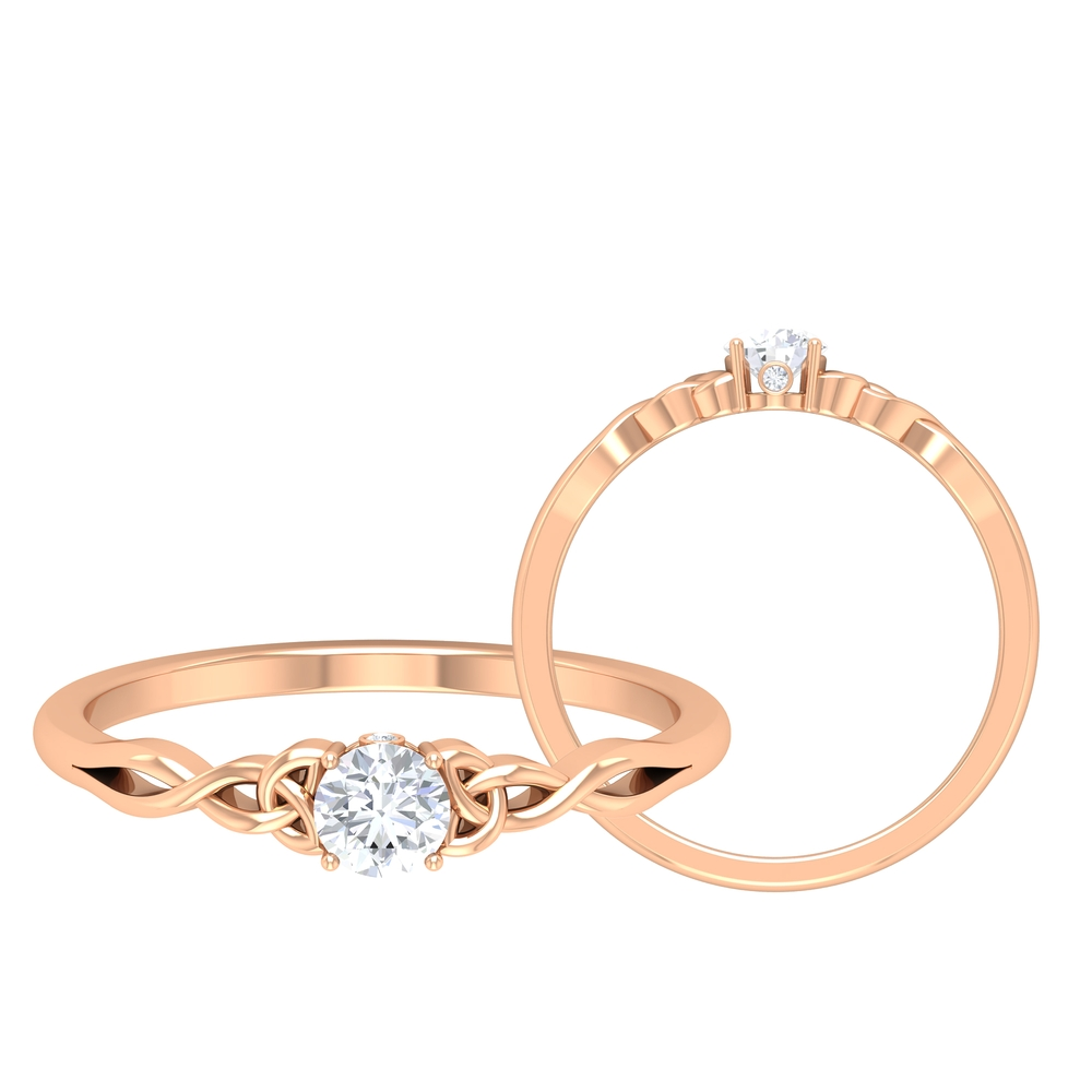 1/4 CT Round Cut Diamond Solitaire Ring in Prong Setting with Surprise Style and Celtic Details