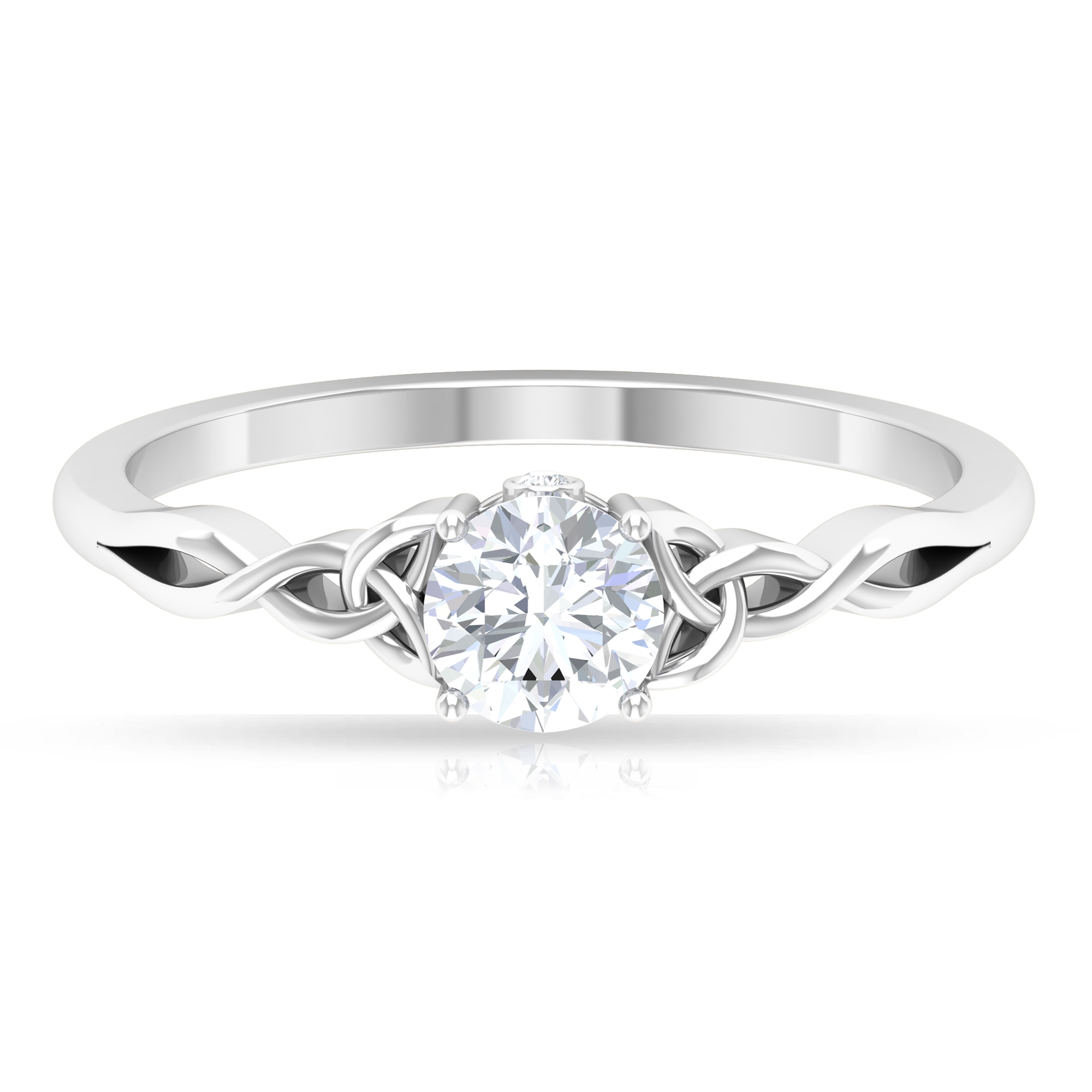 1/2 CT Round Cut Diamond Solitaire Ring in Prong Setting with Surprise Style and Celtic Details