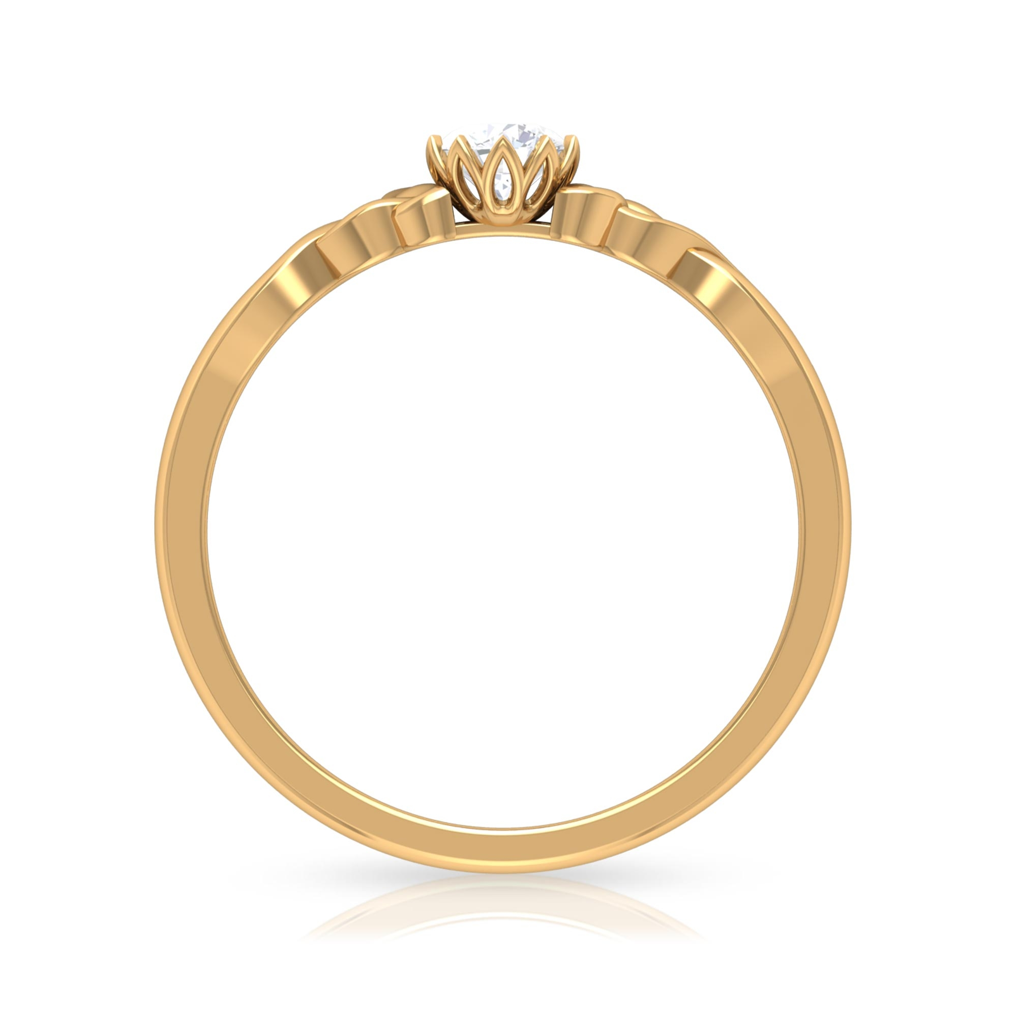 4 MM Round Cut Diamond Solitaire Ring in Lotus Basket Setting with Celtic Details