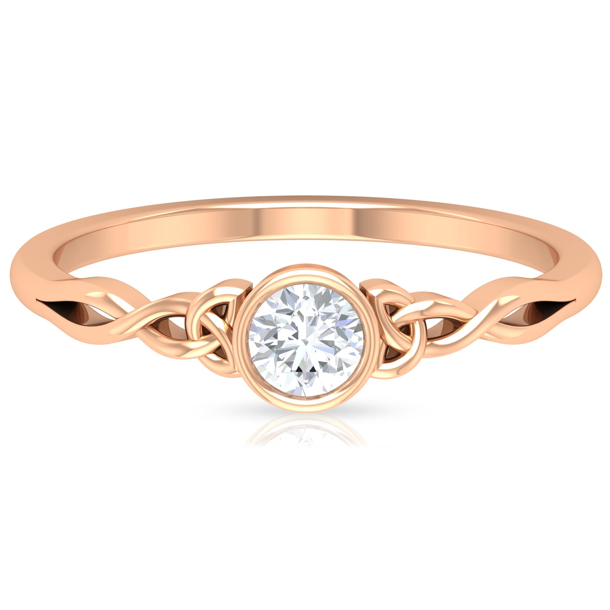 4 MM Round Cut Diamond Solitaire Ring in Bezel Setting with Celtic Details