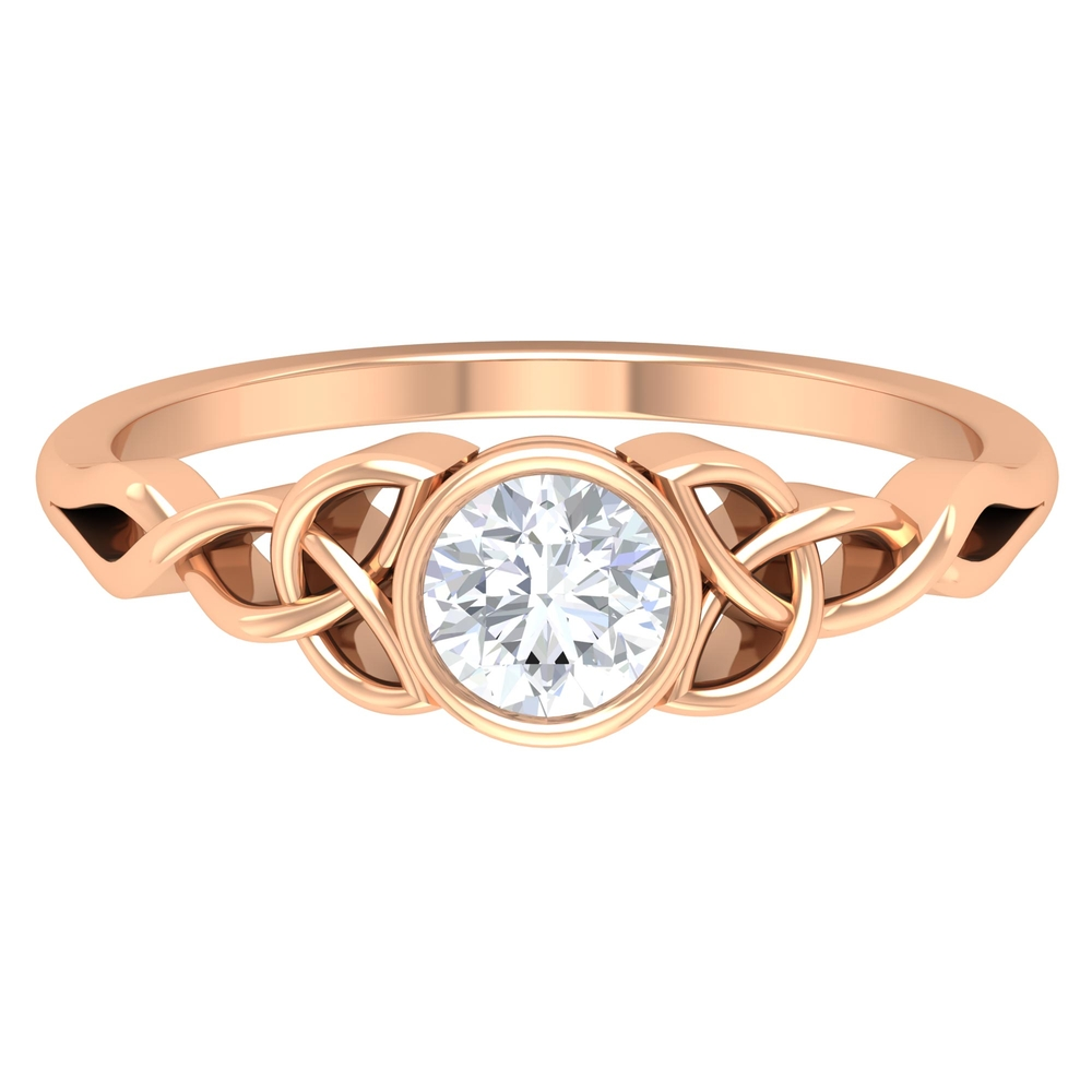 5 MM Round Cut Diamond Solitaire Ring in Bezel Setting with Celtic Details