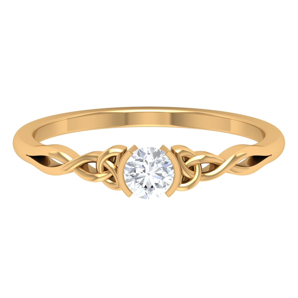 4 MM Round Cut Diamond Solitaire Ring in Half Bezel Setting with Celtic Details