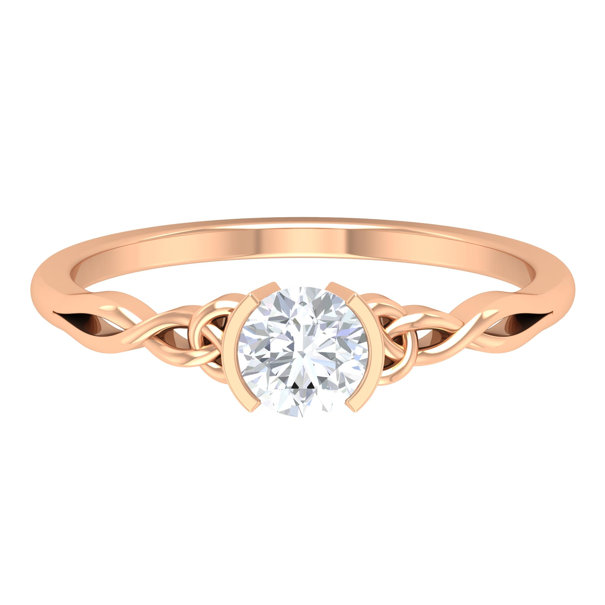 5 MM Round Cut Diamond Solitaire Ring in Half Bezel Setting with Celtic Details