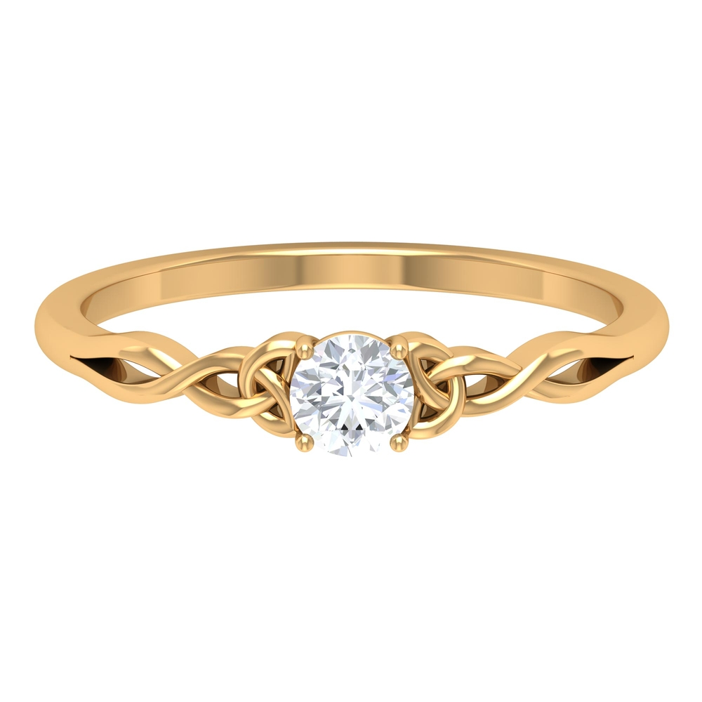 4 MM Round Cut Diamond Solitaire Ring in 4 Prong Setting with Celtic Details