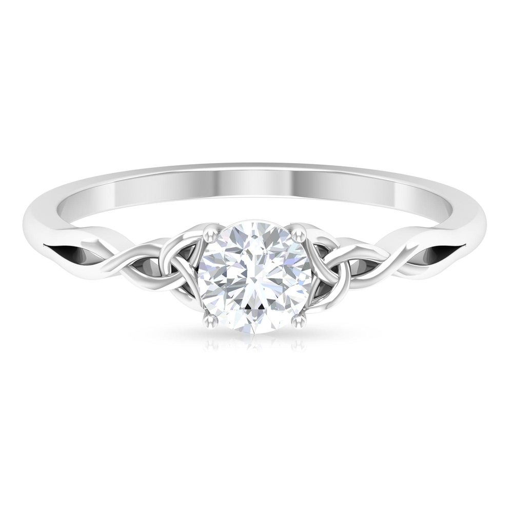 5 MM Round Cut Diamond Solitaire Ring in 4 Prong Setting with Gold Celtic Details