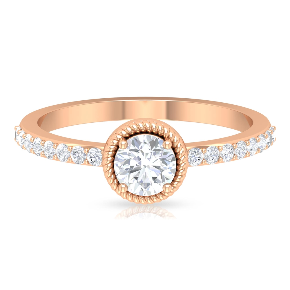 3/4 CT Round Cut Diamond Solitaire Ring with Surface Prong and Twisted Rope Details