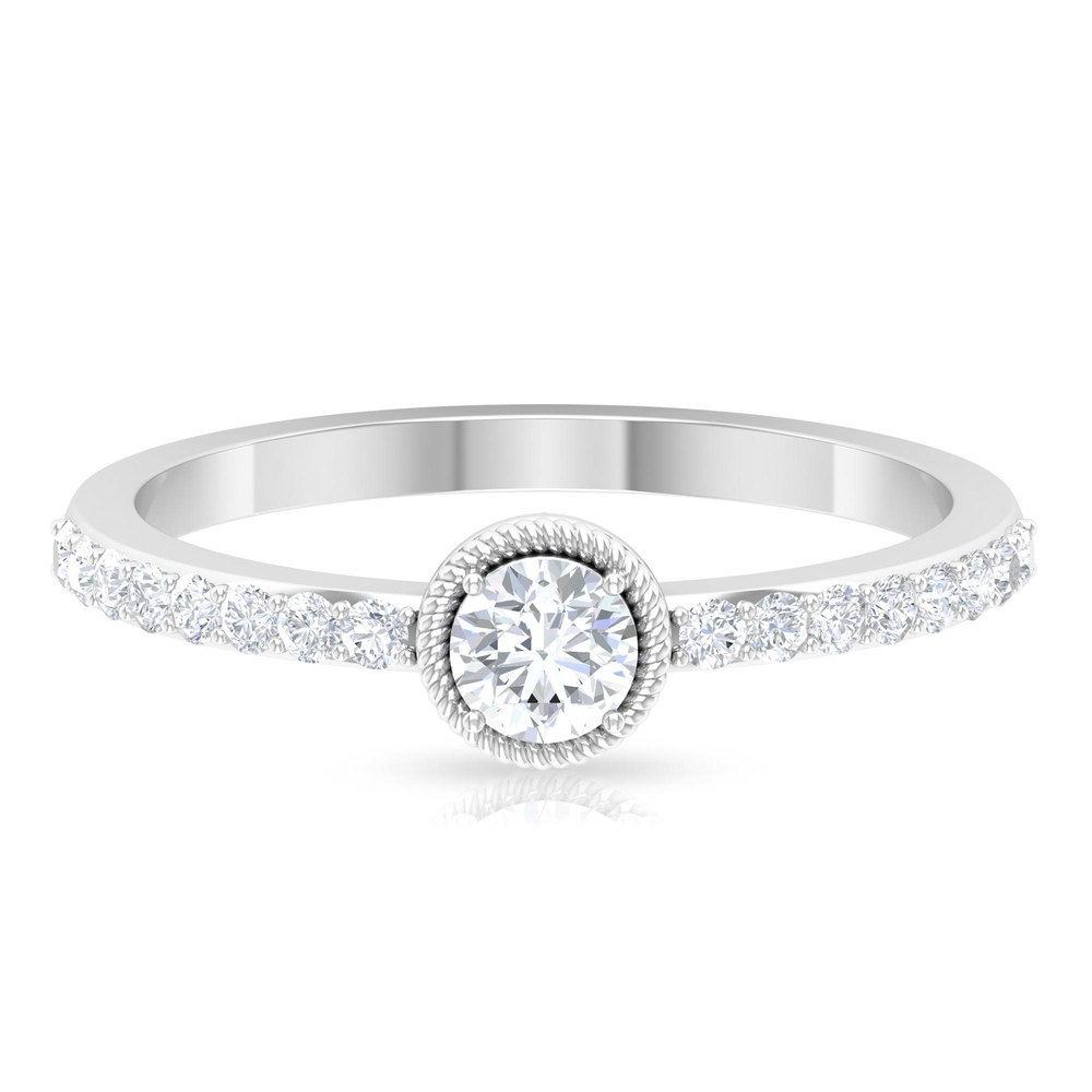 1/2 CT Round Cut Diamond Solitaire Ring with Surface Prong and Twisted Rope Details