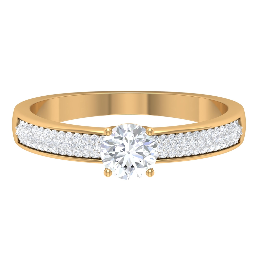 3/4 CT Round Cut Diamond Solitaire Ring with Pave Set Side Stones
