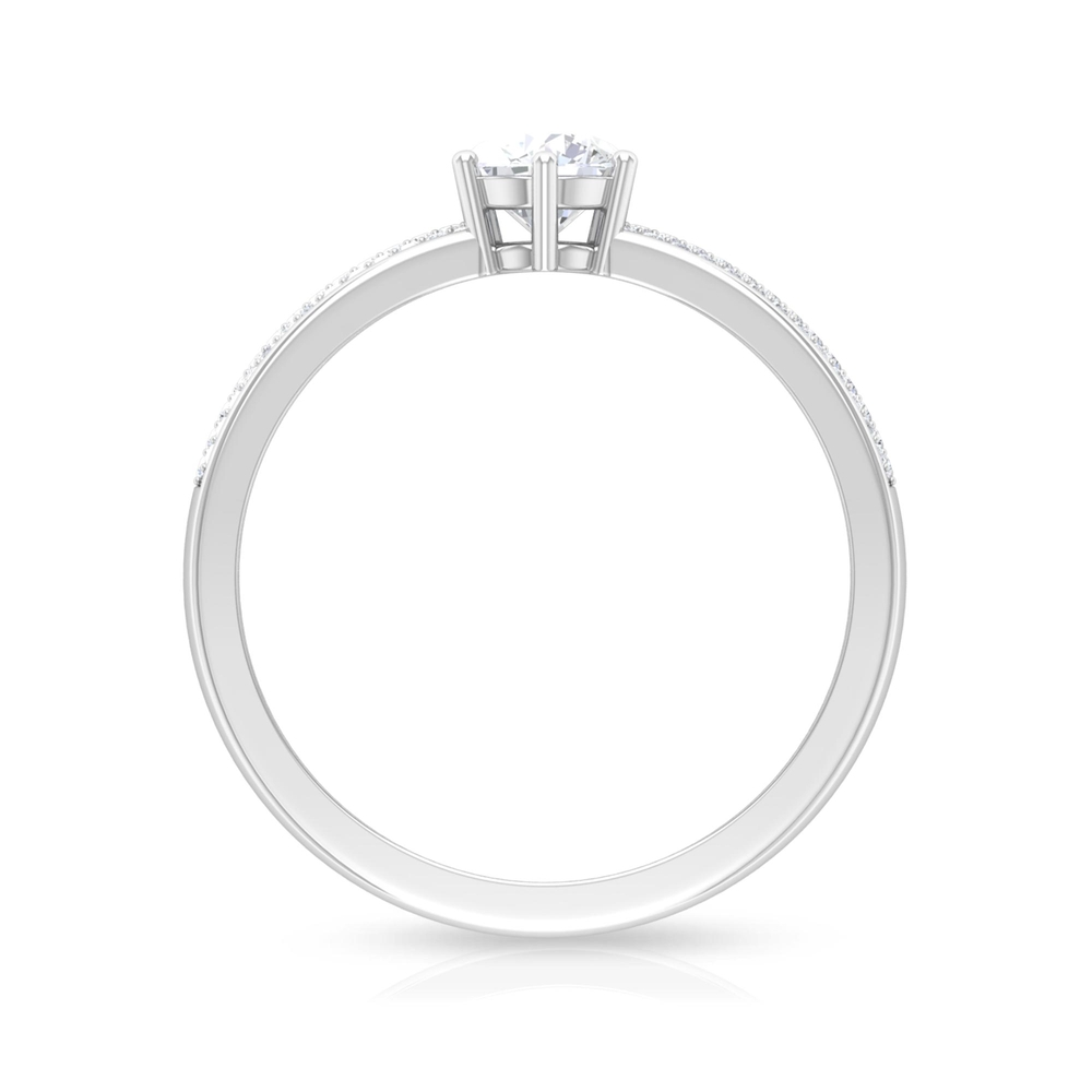 3/4 CT Round Cut Diamond Solitaire Ring in 6 Prong Setting with Pave Set Side Stones