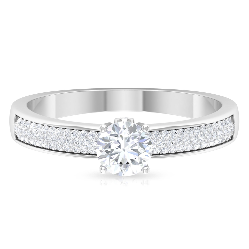 3/4 CT Round Cut Diamond Solitaire Ring in Prong Setting and Surprise Style with Pave Set Side Stones