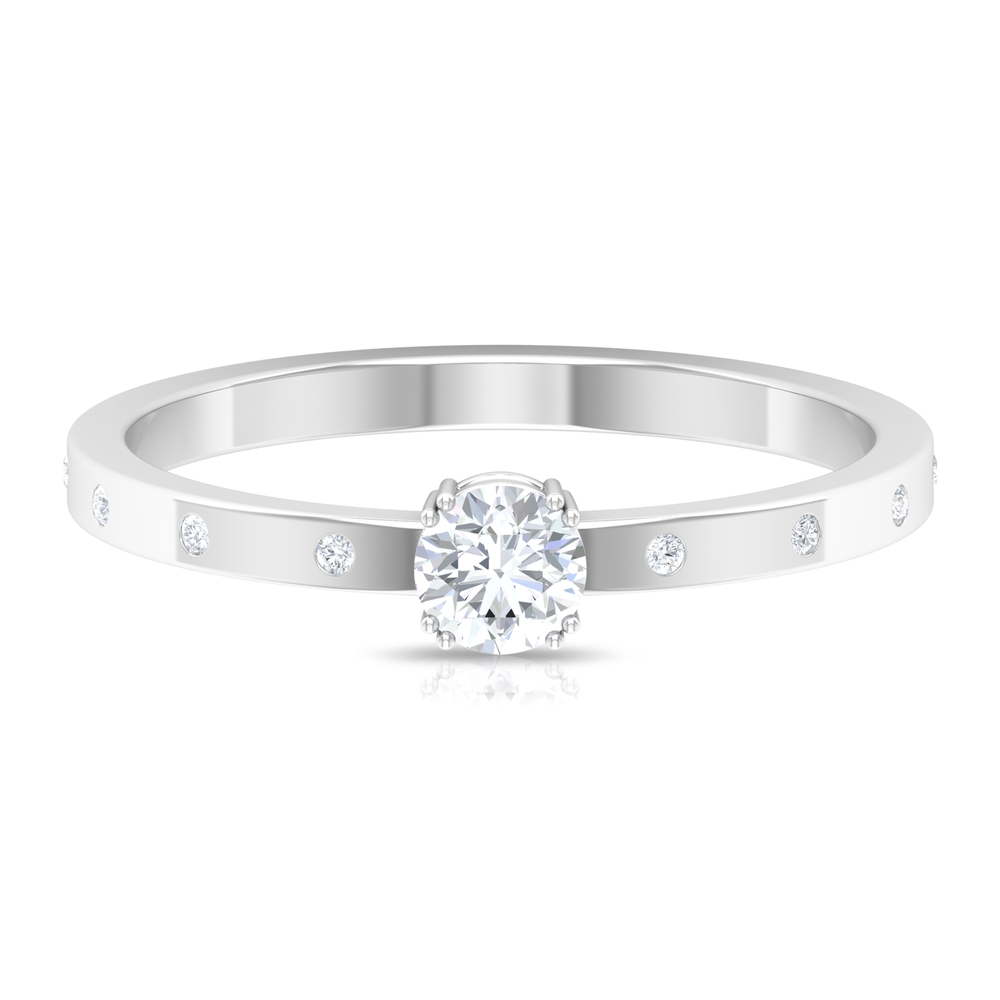 1/4 CT Round Cut Diamond Solitaire Ring in Double Prong Setting with Sleek Accent