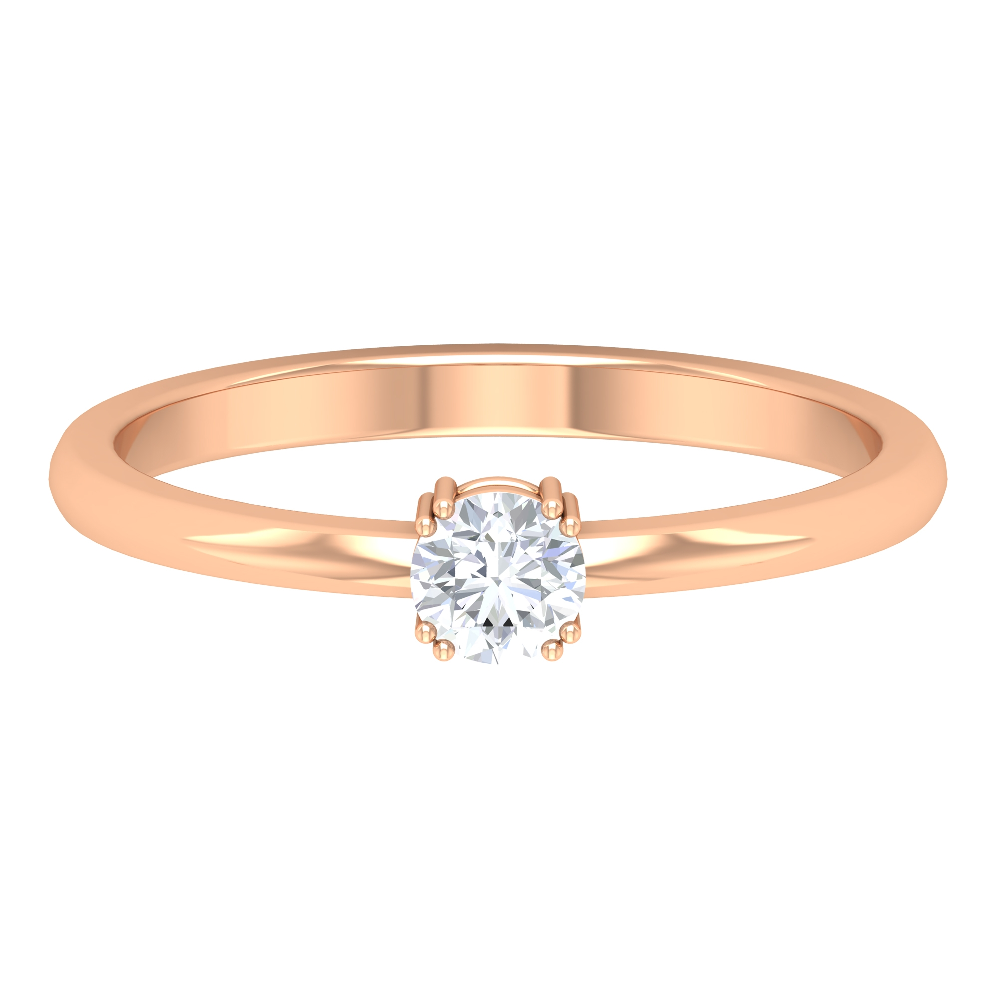 4 MM Round Cut Diamond Solitaire Ring in Double Prong Setting