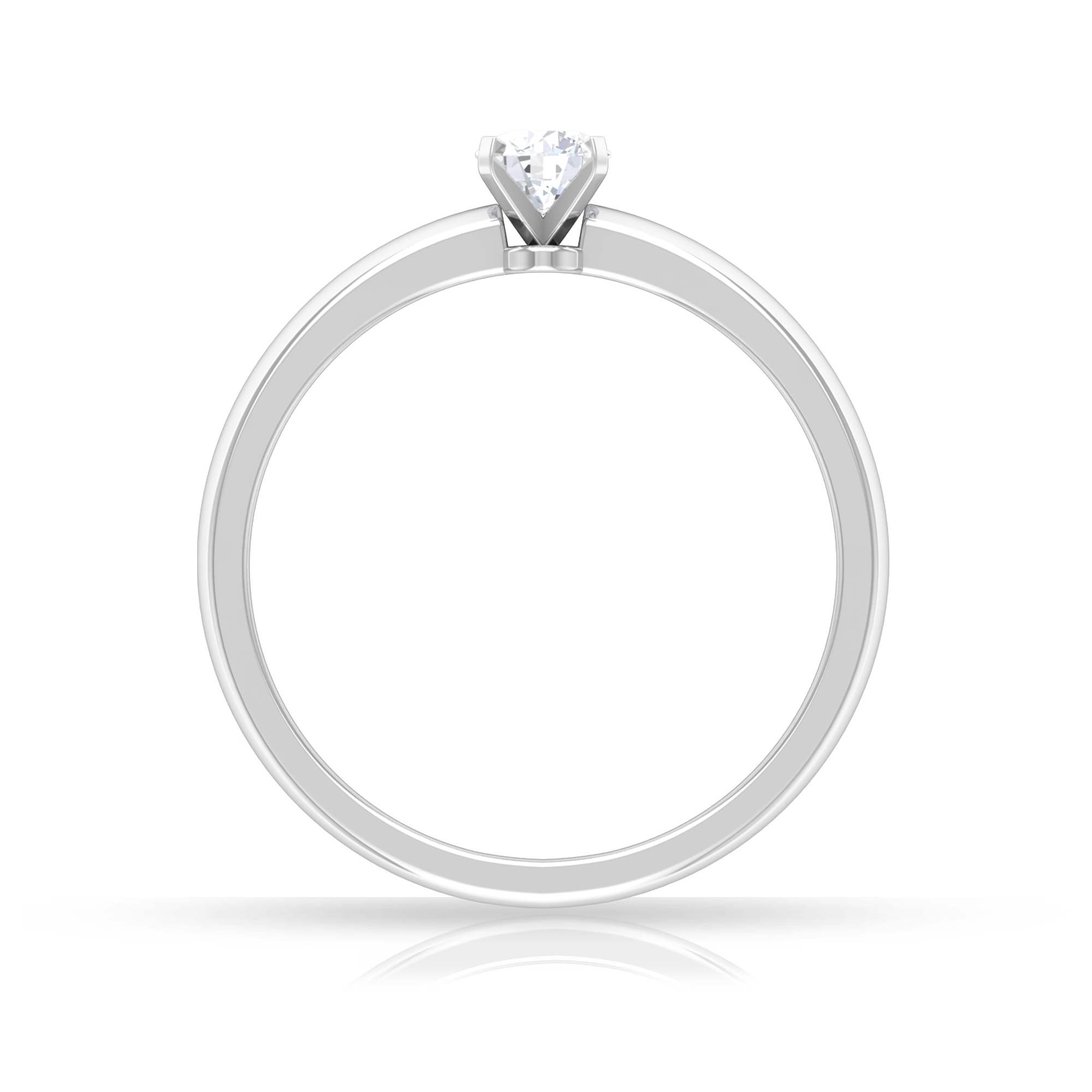 4 MM Round Diamond Solitaire Ring in Peg Head Setting