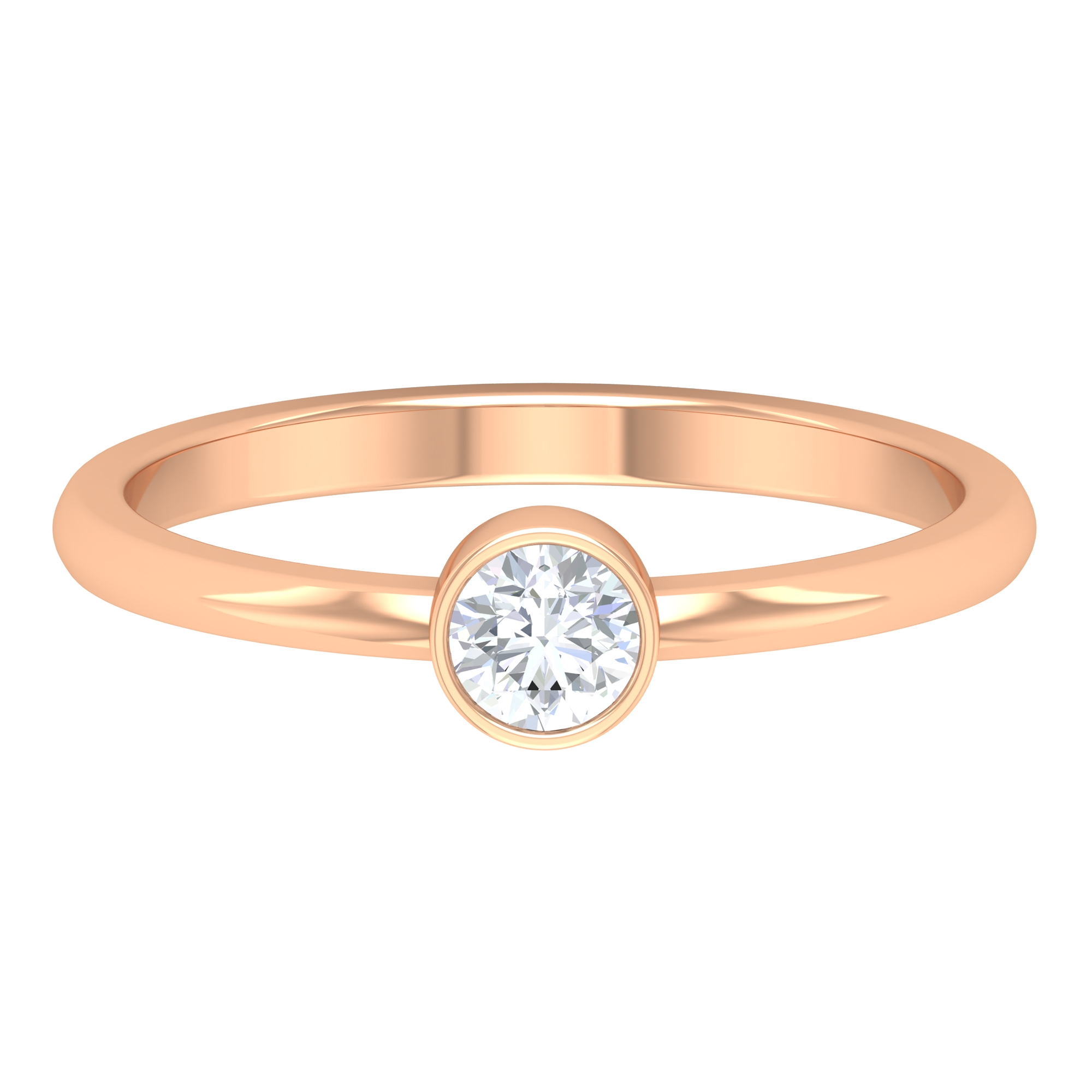 4 MM Round Cut Diamond Solitaire Ring in Bezel Setting