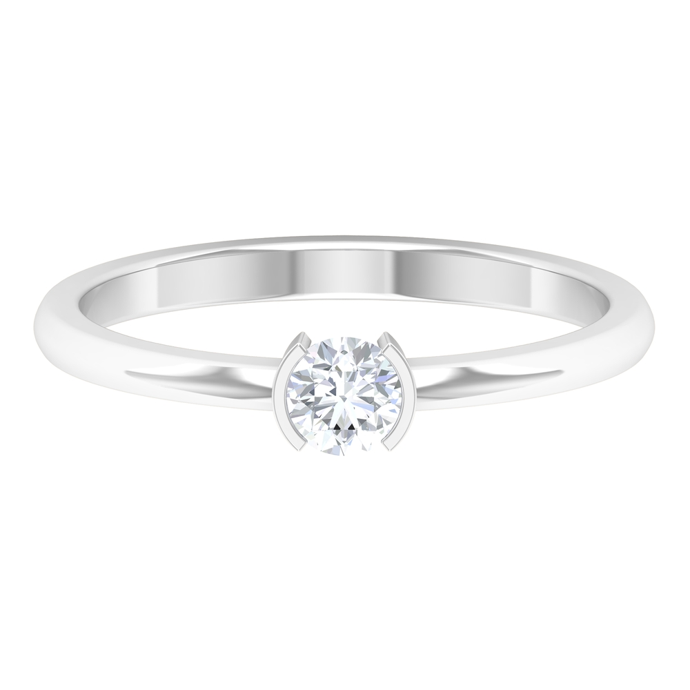 4 MM Round Cut Diamond Solitaire Ring in Half Bezel Setting