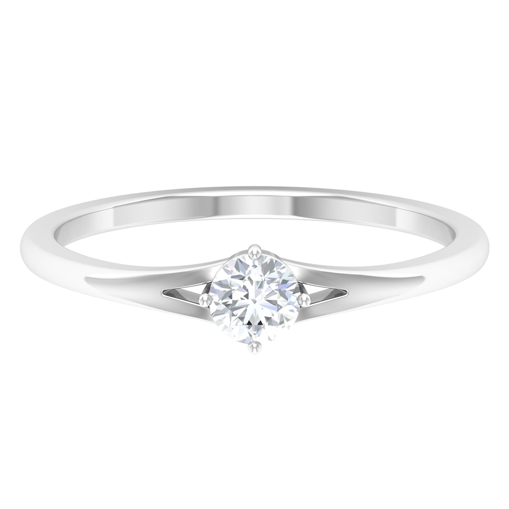 4X4 MM Round Shape Solitaire Diamond Split Shank Ring in 4 Prong Diagonal Setting