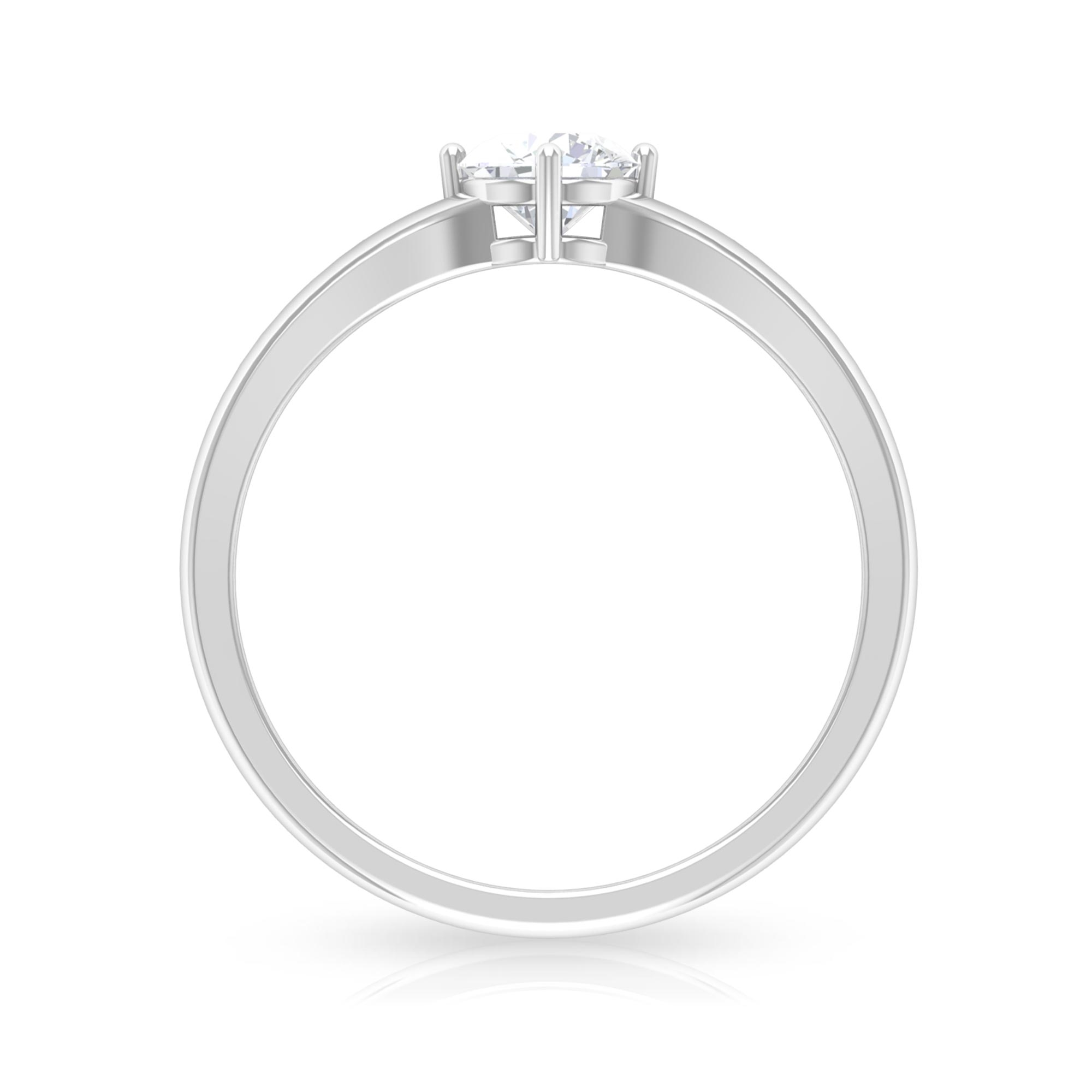 5 MM Round Cut Diamond Solitaire Ring in 4 Prong Diagonal Setting with Split Shank