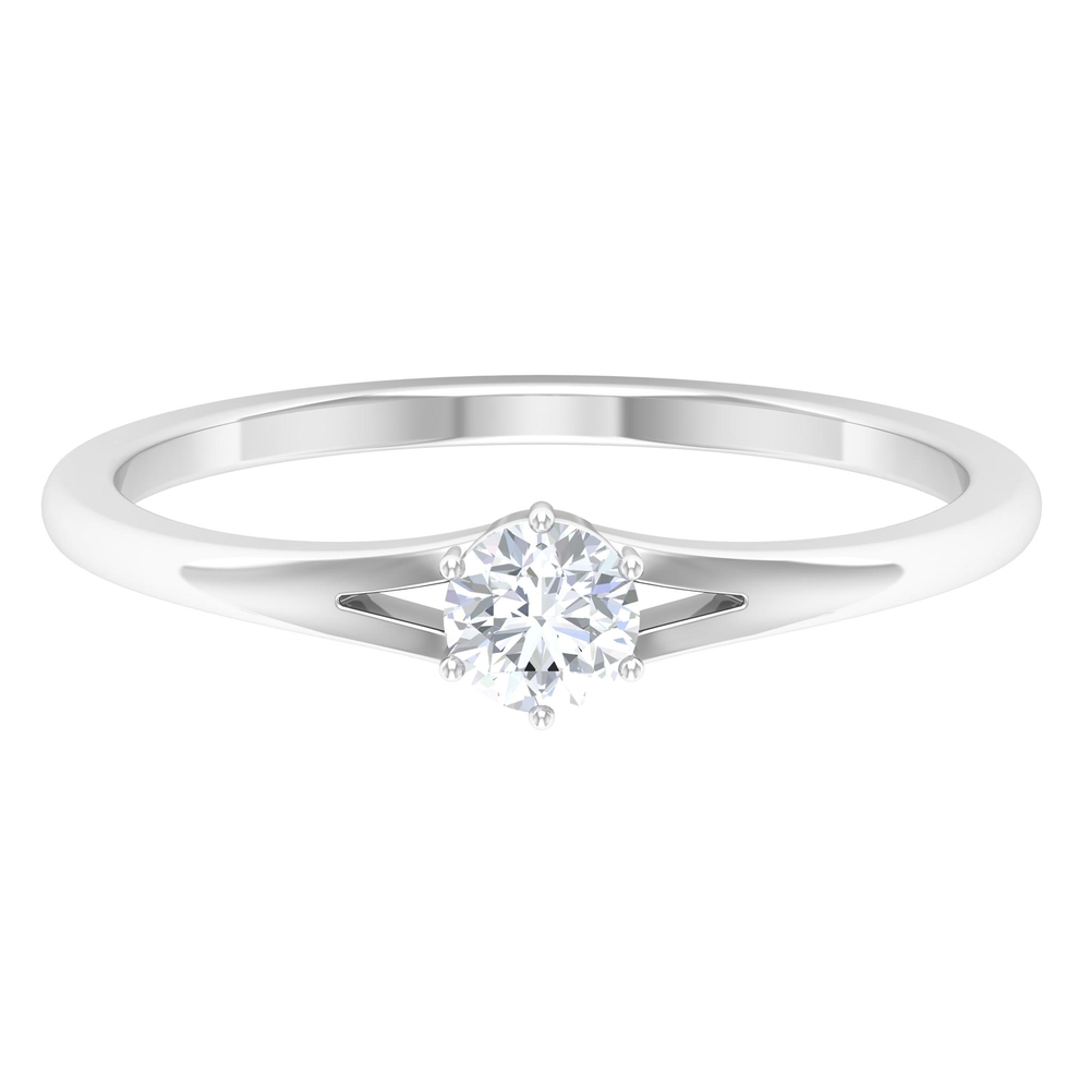 4 MM Round Cut Diamond Solitaire Ring in 6 Prong Setting with Split Shank