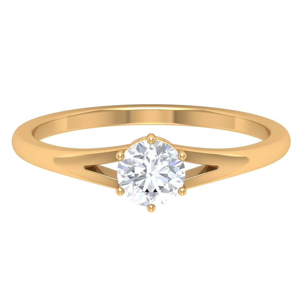 5 MM Round Cut Diamond Solitaire Ring in 6 Prong Setting with Split Shank