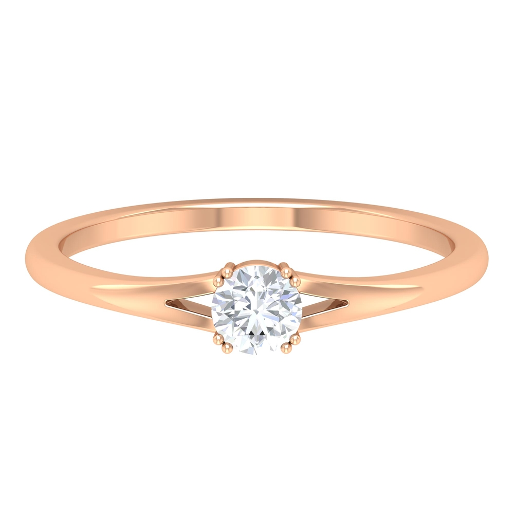 4 MM Round Cut Diamond Solitaire Ring in Double Prong Setting with Split Shank