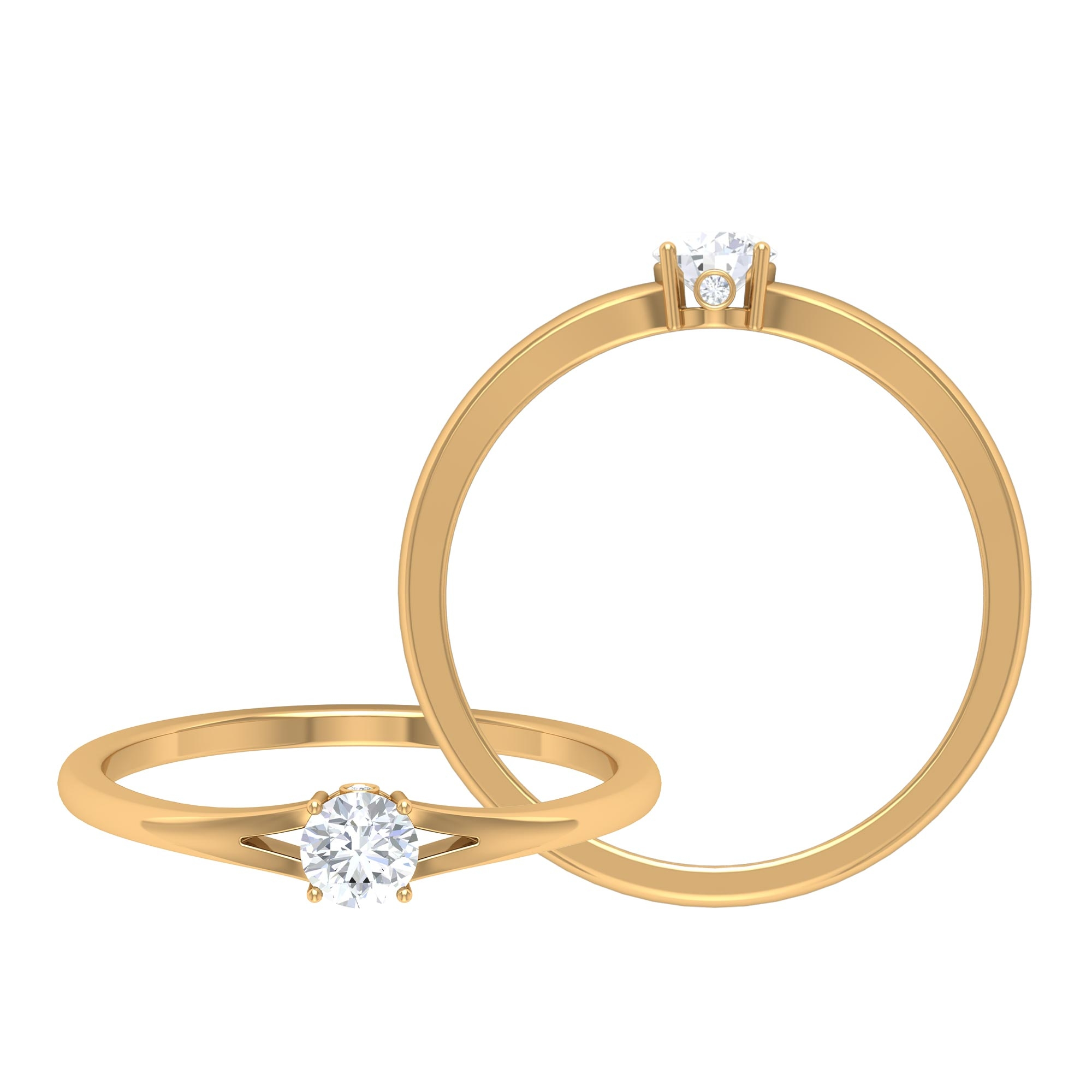 1/4 CT Round Cut Diamond Solitaire Ring in Prong Setting and Surprise Style with Split Shank